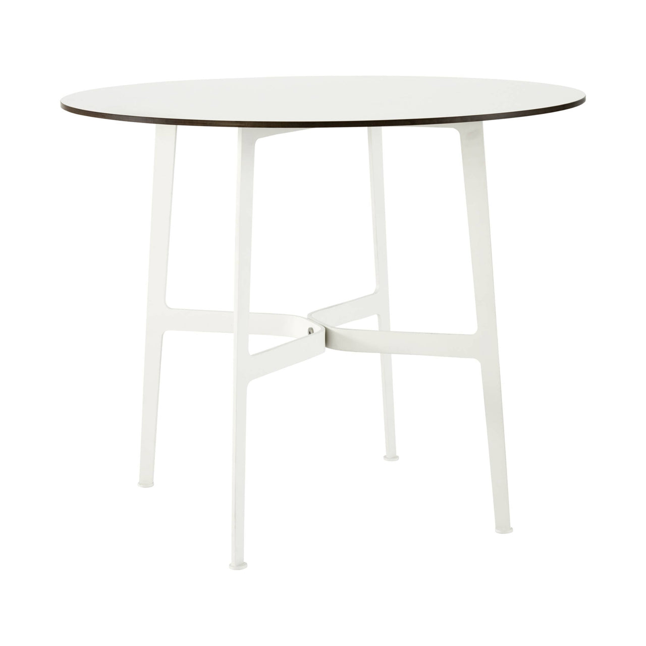 Eileen Circular Dining Table: Small + White + White Laminate