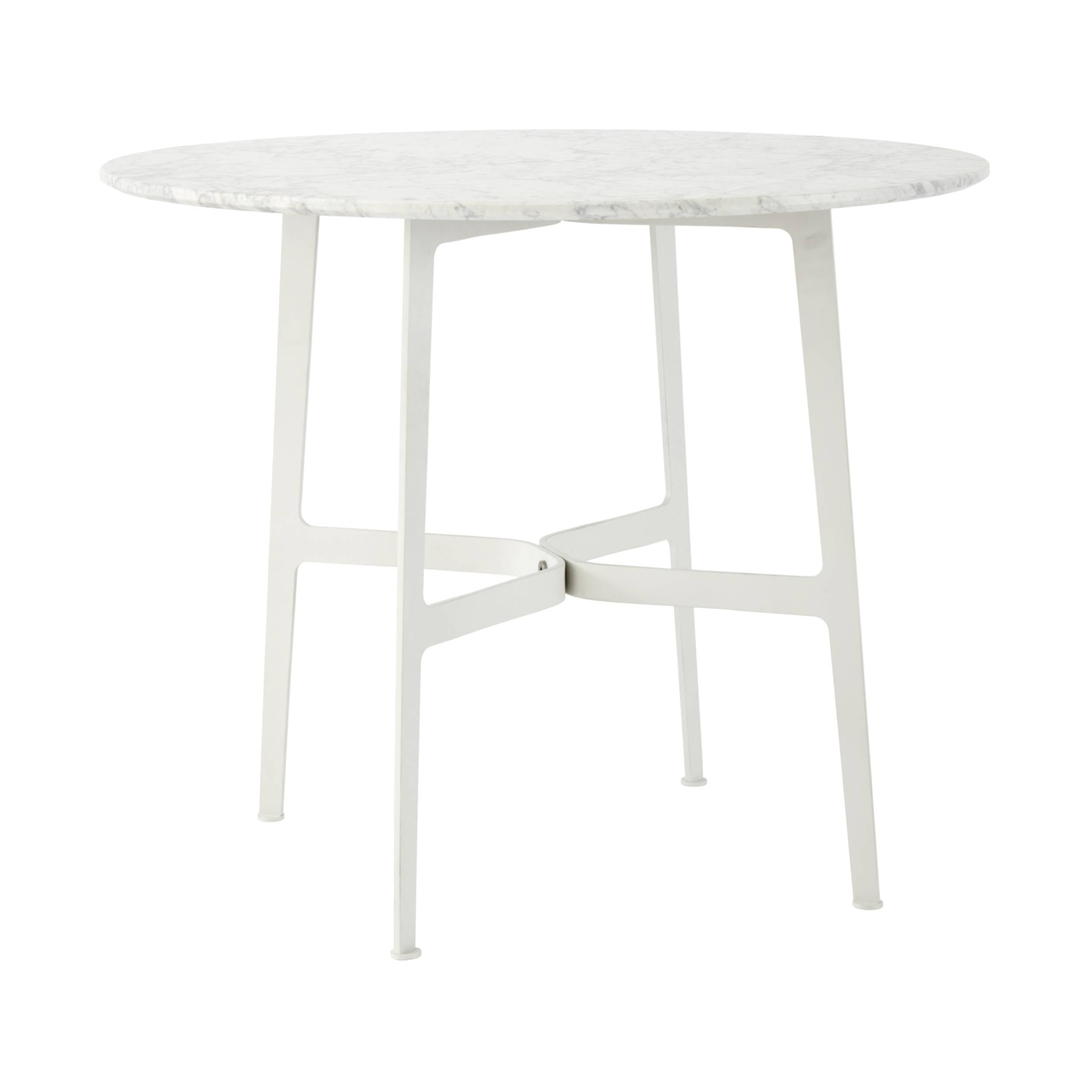 Eileen Circular Dining Table: Small + White + White Marble
