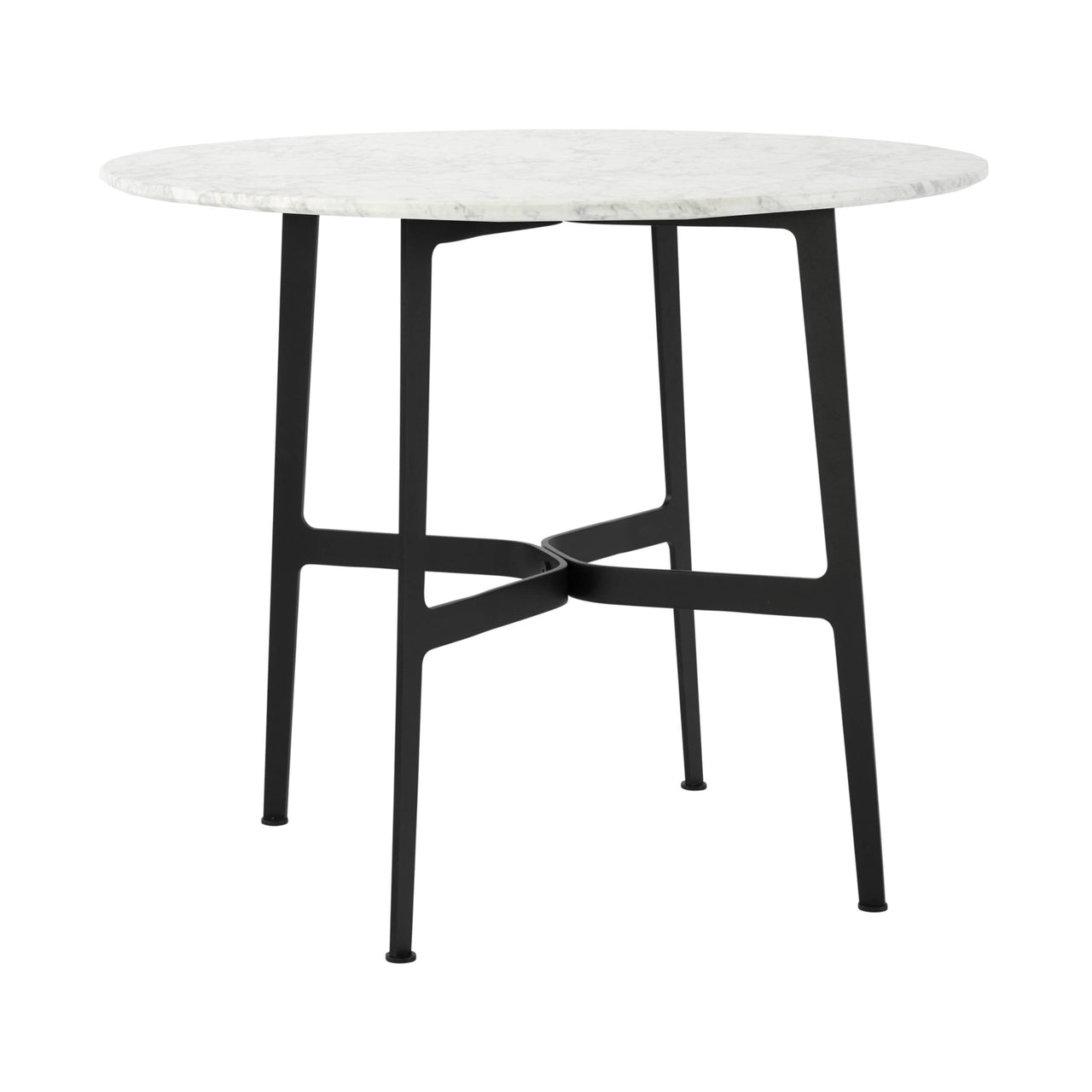 Eileen Circular Dining Table: Small + Black + White Marble
