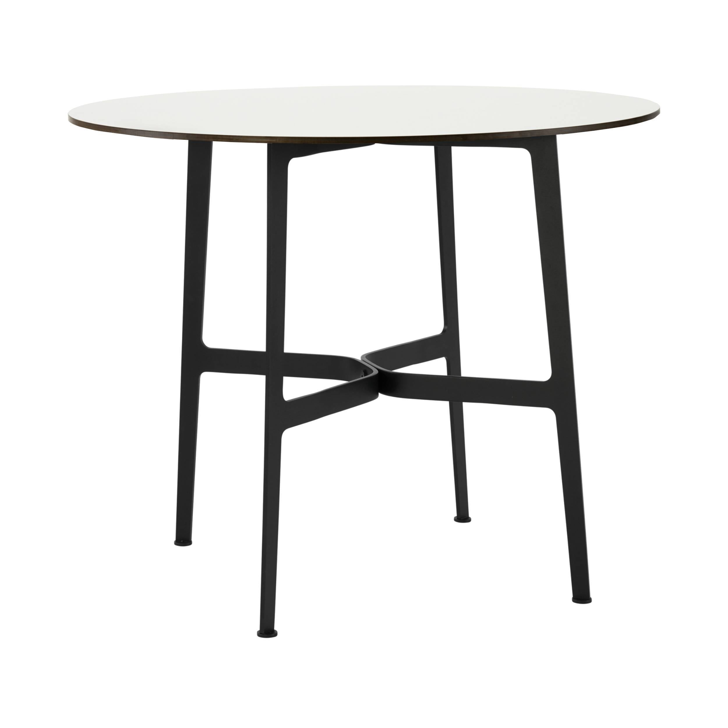 Eileen Circular Dining Table: Small + Black + White Laminate