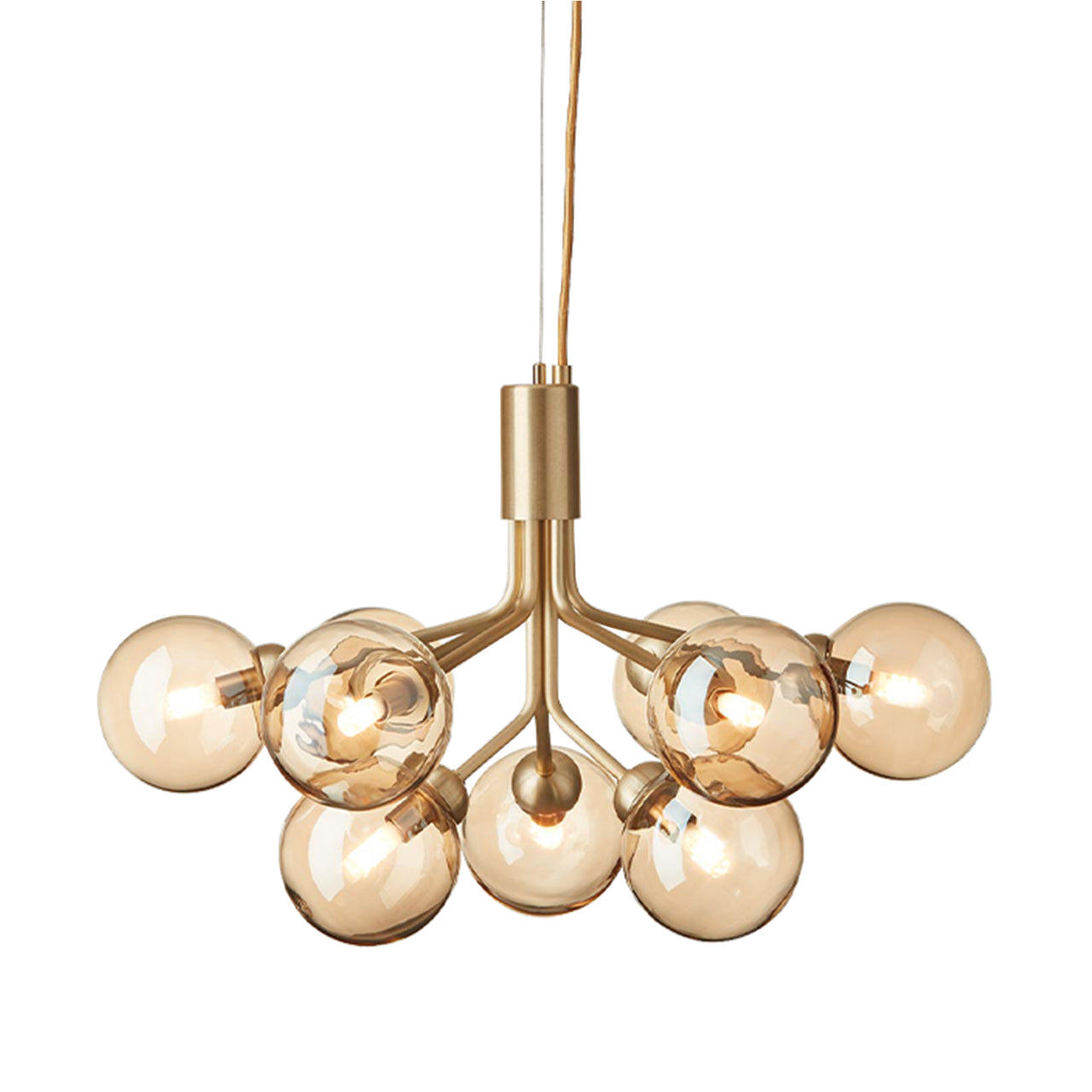 Apiales 9 Chandelier: Brushed Brass + Gold