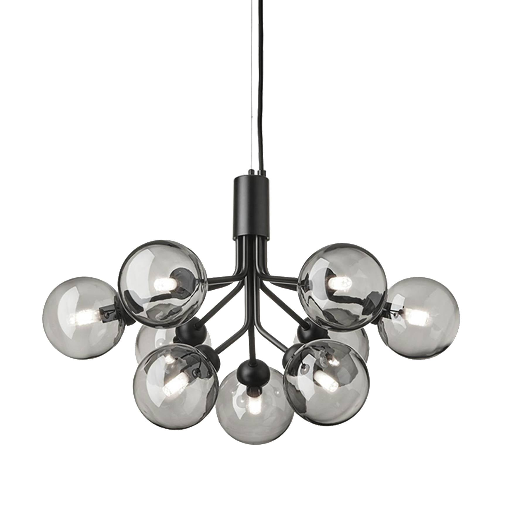 Apiales 9 Chandelier: Satin Black + Smoked Black