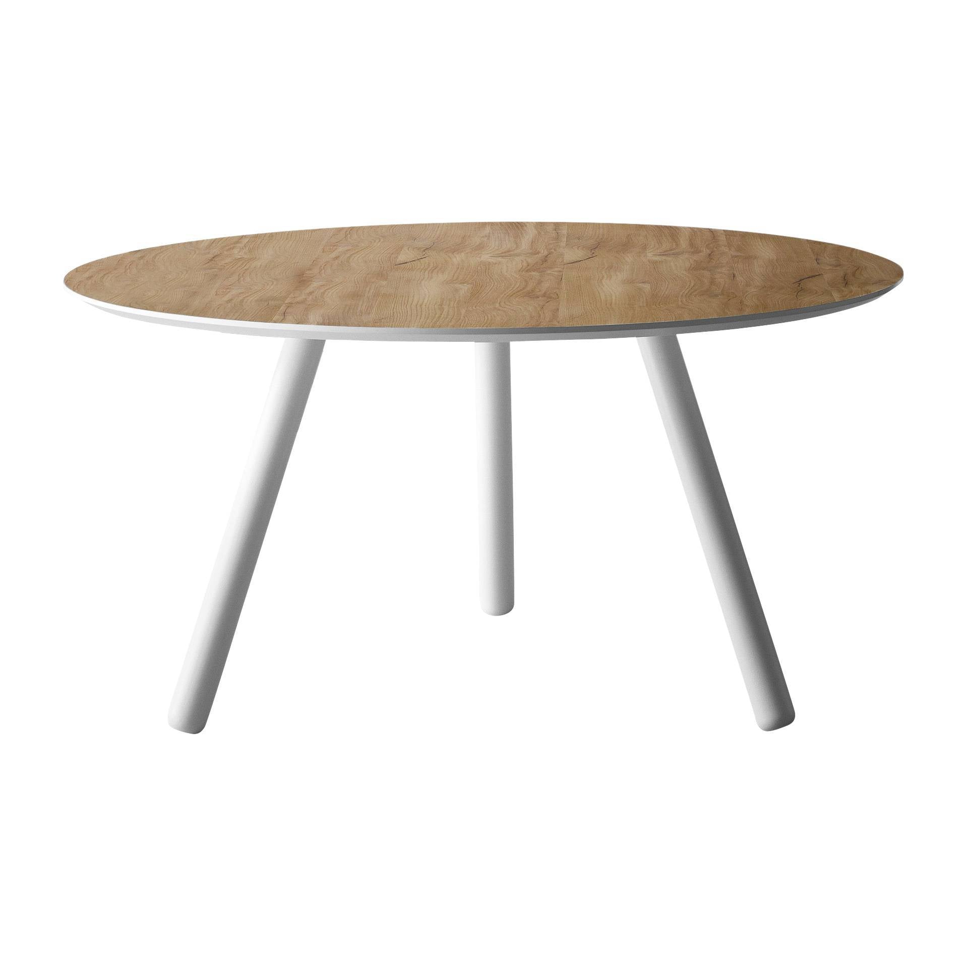 Pixie Round Table: Large + Flamed Oak + White Lacquer