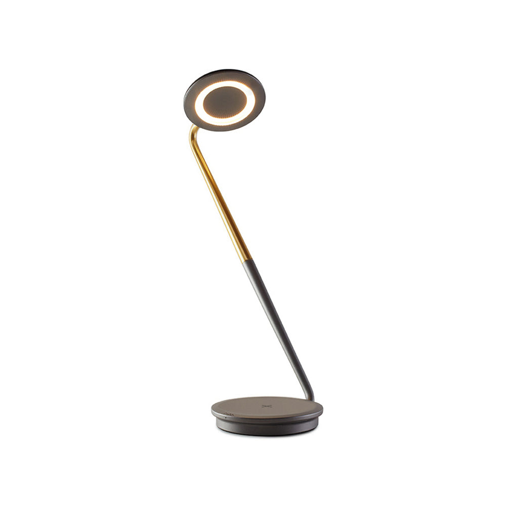 Pixo Plus Task Light with Wireless Charging: Graphite + Brass