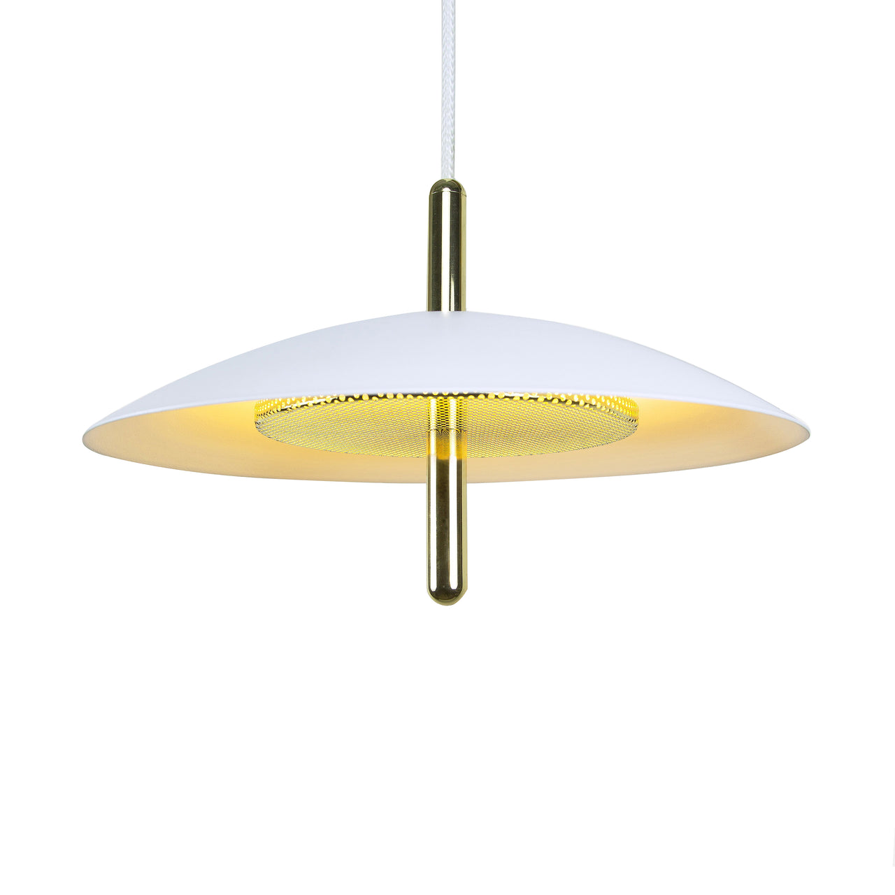 Signal Pendant Light: Nickel + White Shade