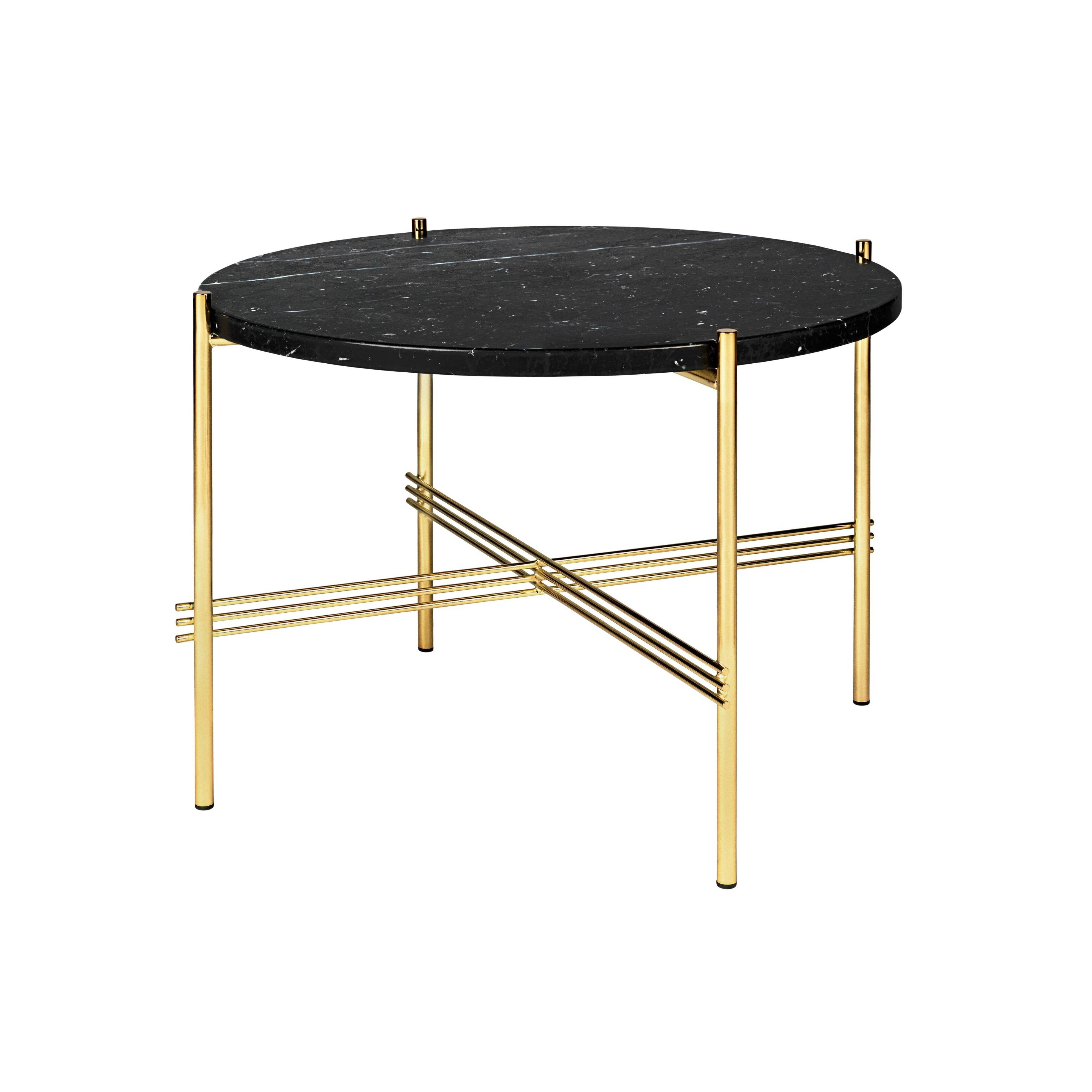 TS Round Coffee Table: Small + Brass Base + Black Marquina Marble