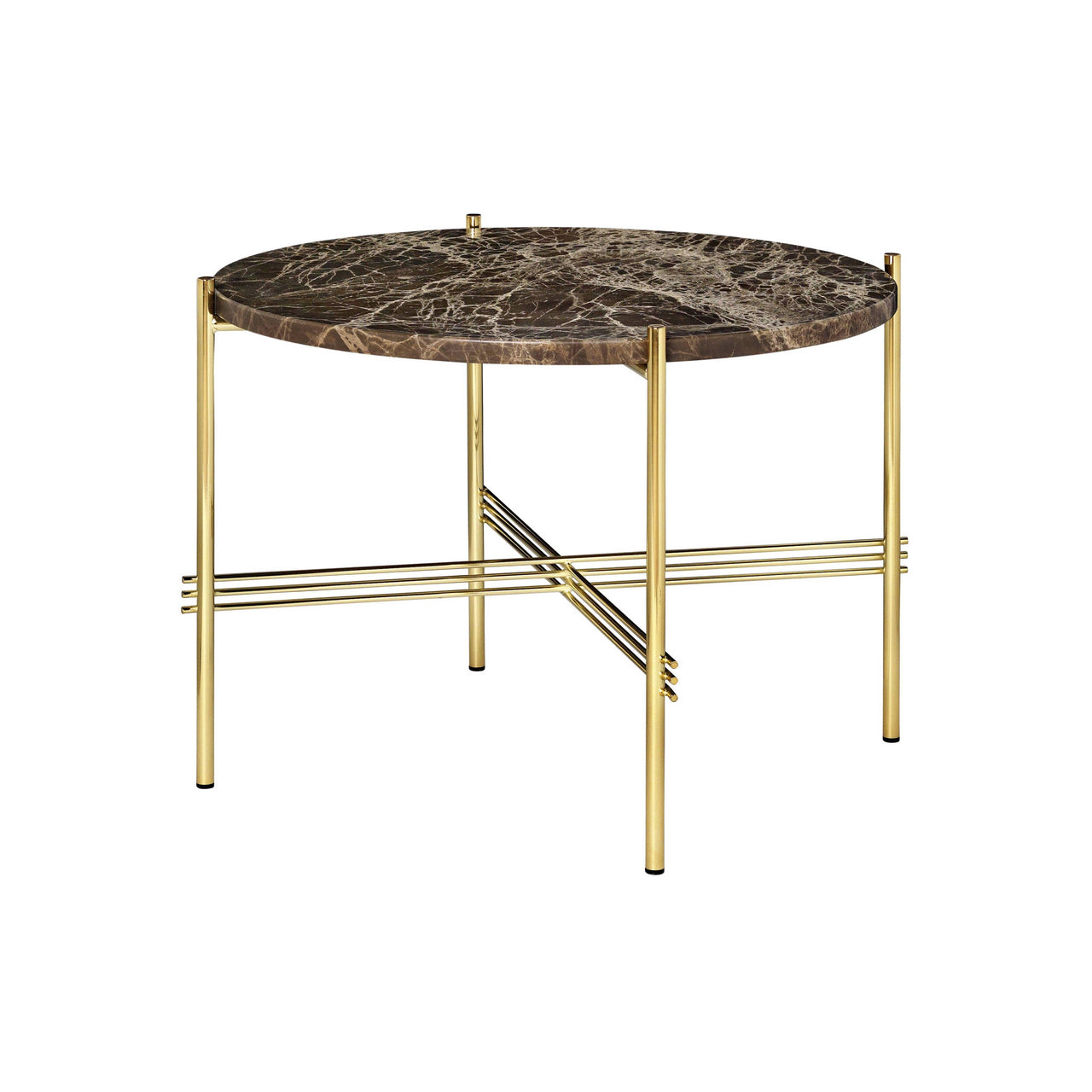 TS Round Coffee Table: Small + Brass Base + Brown Emperador Marble