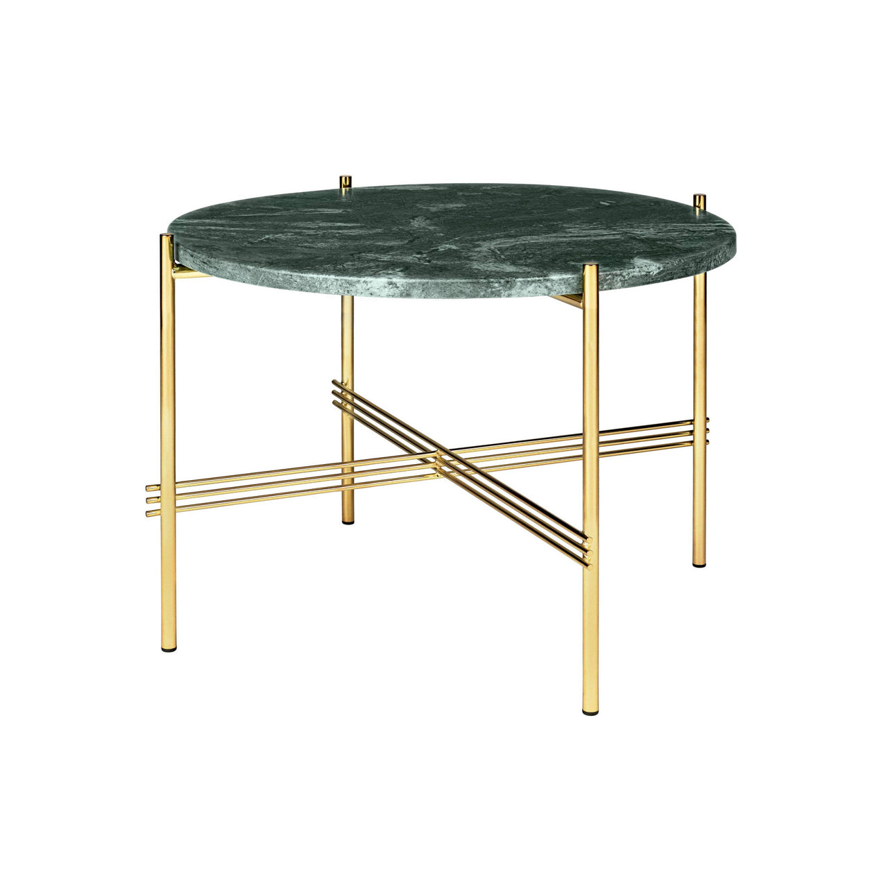 TS Round Coffee Table: Small + Brass Base + Green Gautemala Marble