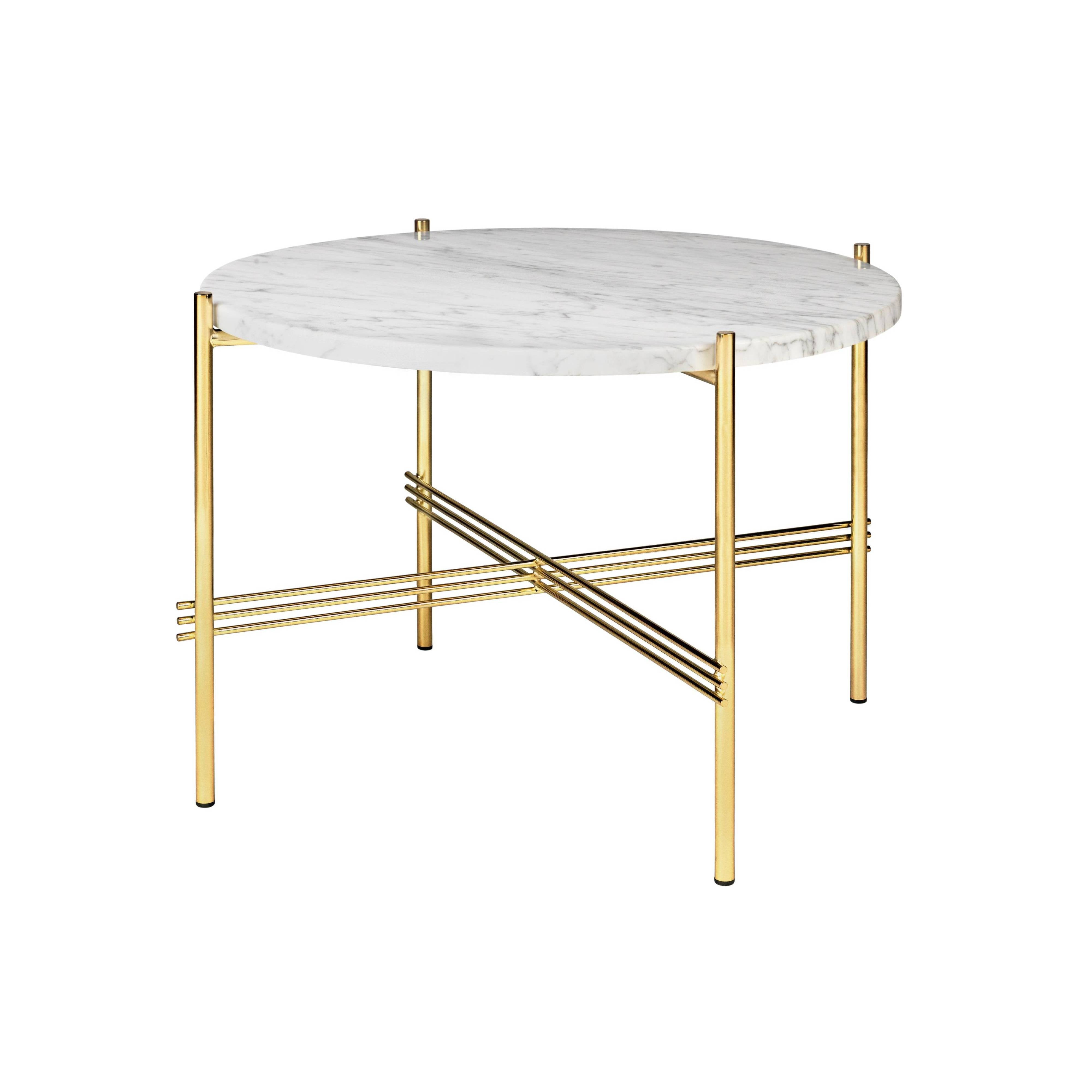 TS Round Coffee Table: Small + Brass Base + White Carrara Marble