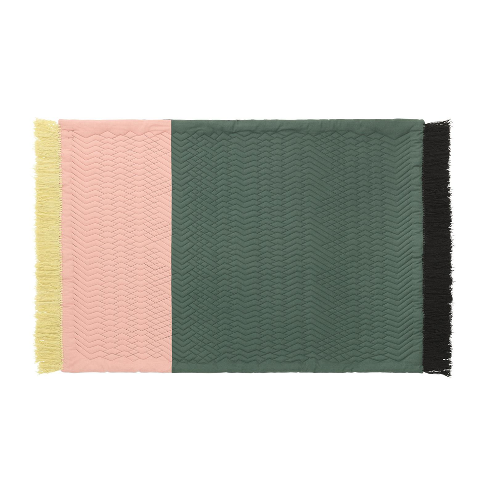 Trace Rug: Blush + Dark Green