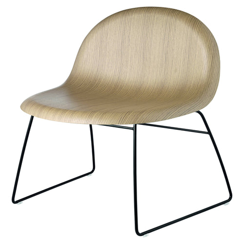 3D Lounge Chair: Sledge Base : Oak + Black Semi-Matte Base