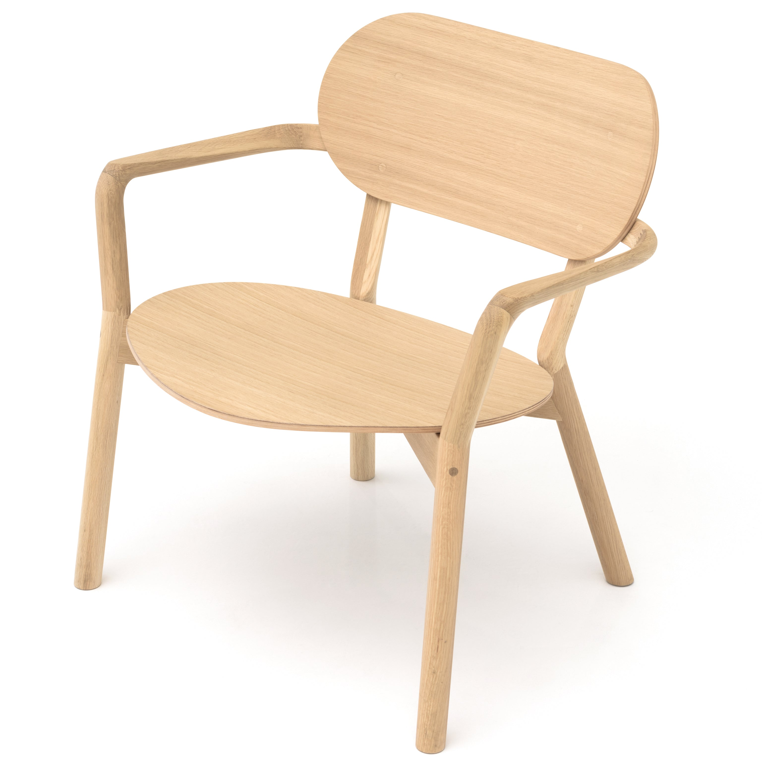 Castor Low Chair: Natural Oak + Without Pad
