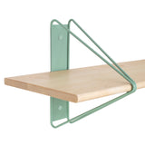 Strut Shelf + Shelving System: Light Green + Natural Maple