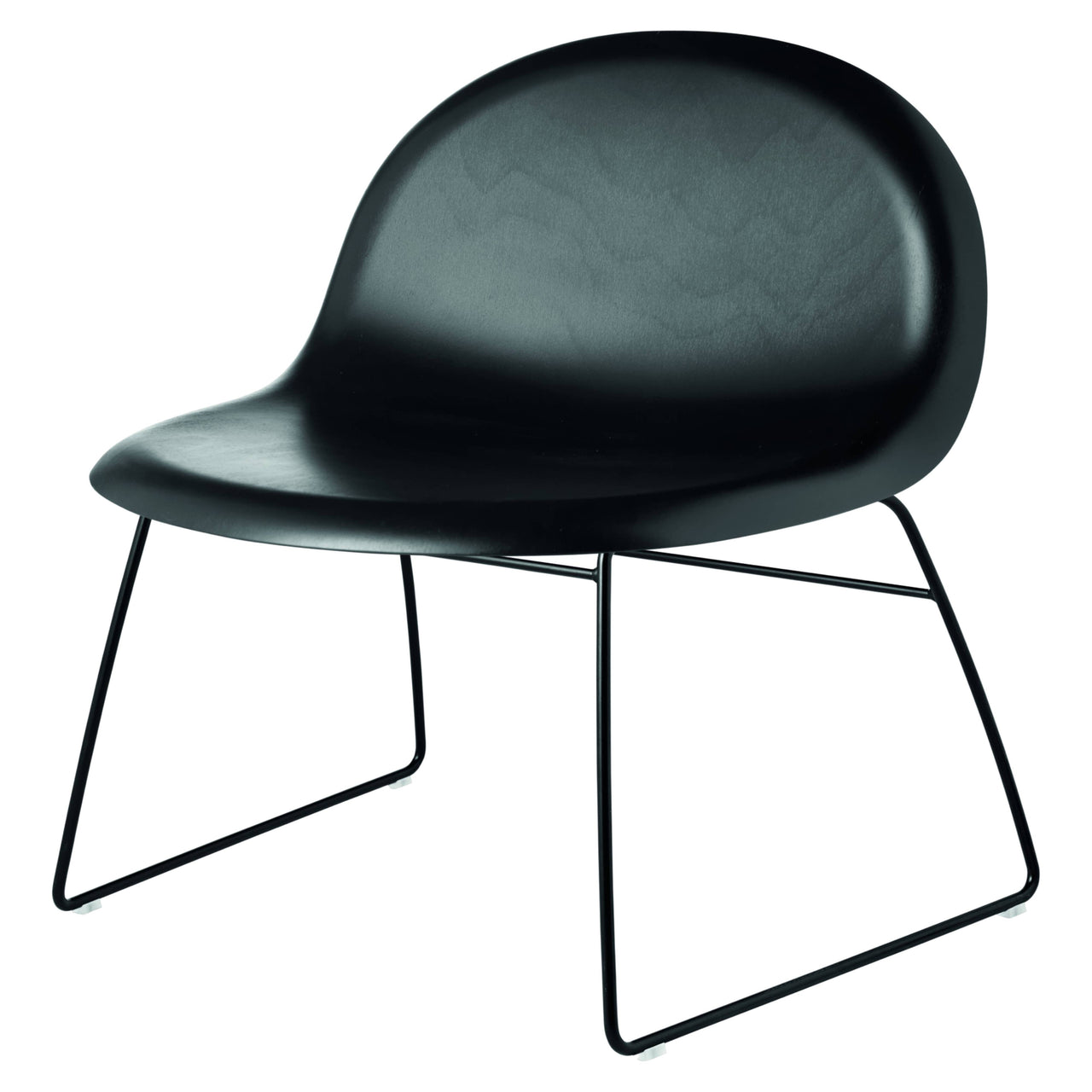 3D Lounge Chair Sledge Base : Black Stained Beech + Black Semi-Matte Base + Plastic Glides