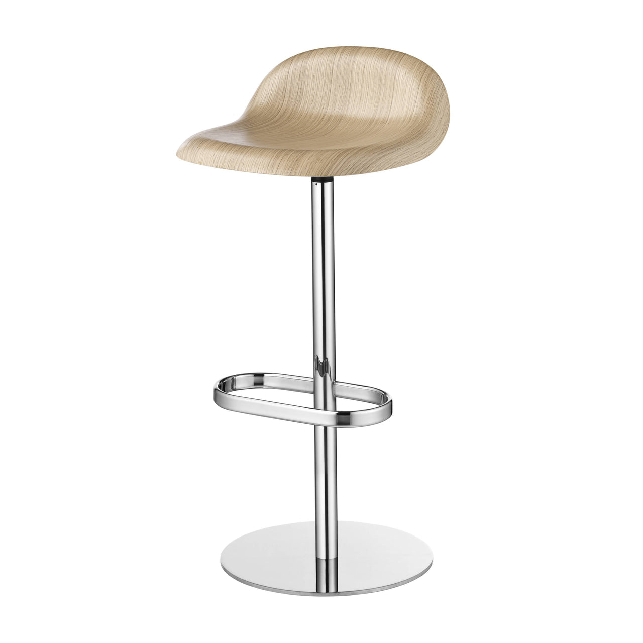 3D Bar Stool: Swivel Base + Oak