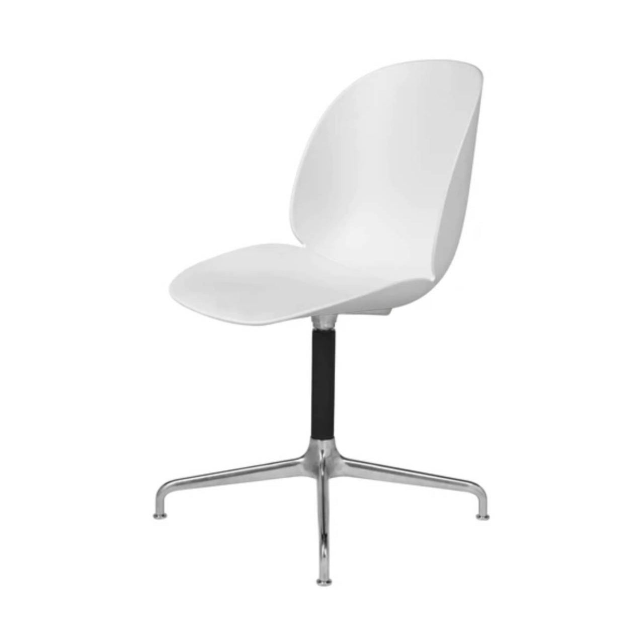 Beetle Meeting Chair: 4-Star Swivel Base: Soft White + Polished Aluminum + Black Matte Base + Plastic Glides