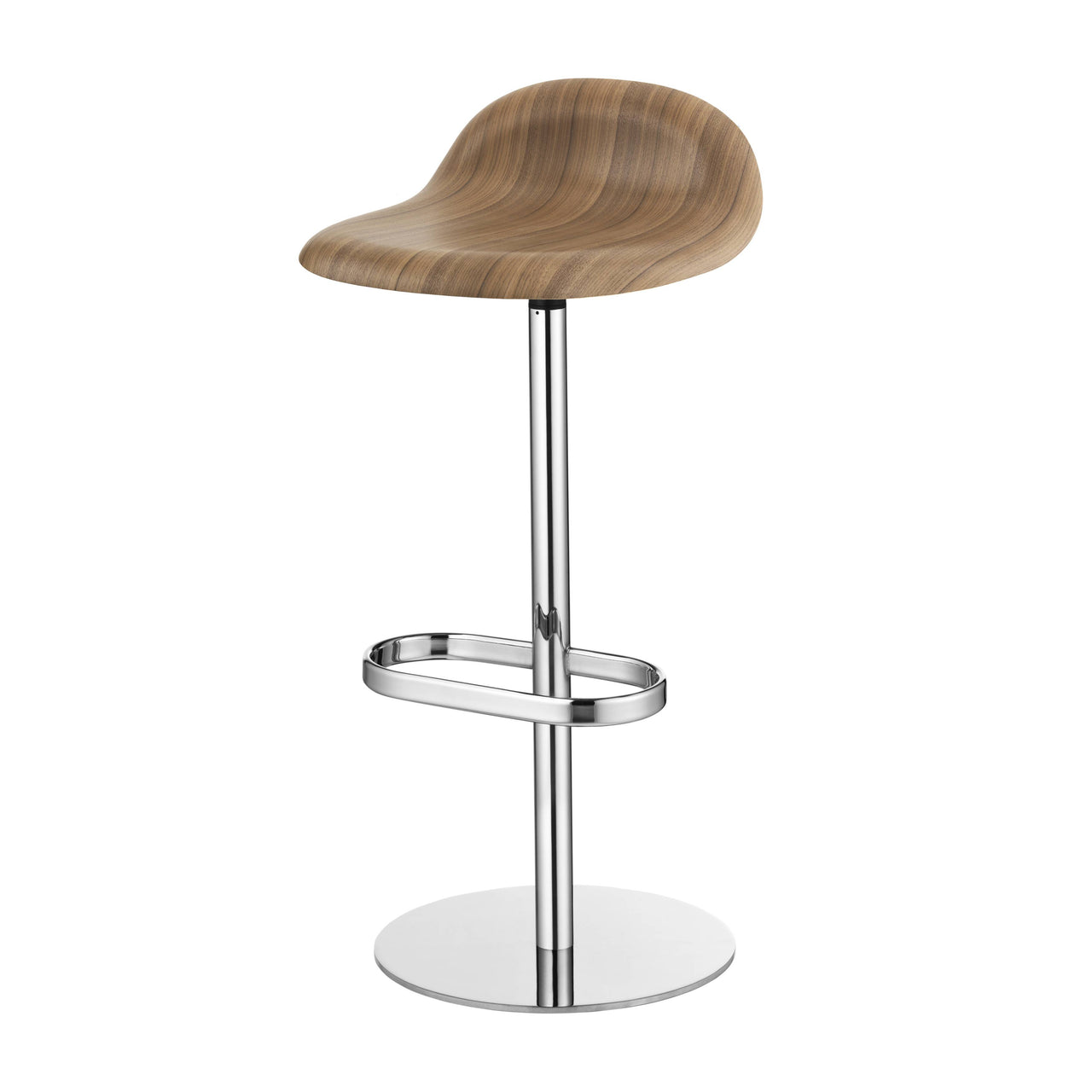 3D Bar Stool: Swivel Base + American Walnut