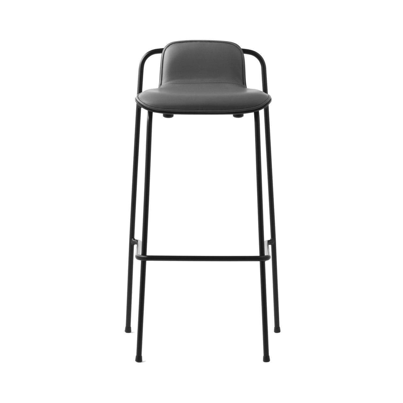 Studio Bar + Counter Stool: Front Upholstered + Bar (75cm) + Black Shell
