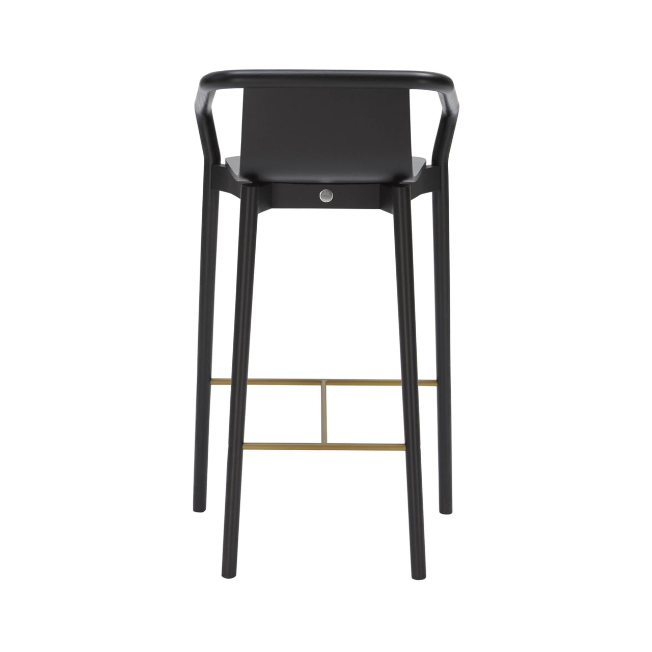 Thomas Bar + Counter Stool: Bar Stool + Carbon Stained Ash + Gold Chrome