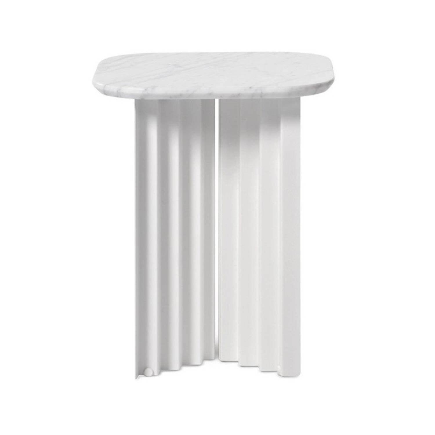 Plec Table: Marble Top: Small + White Carrara
