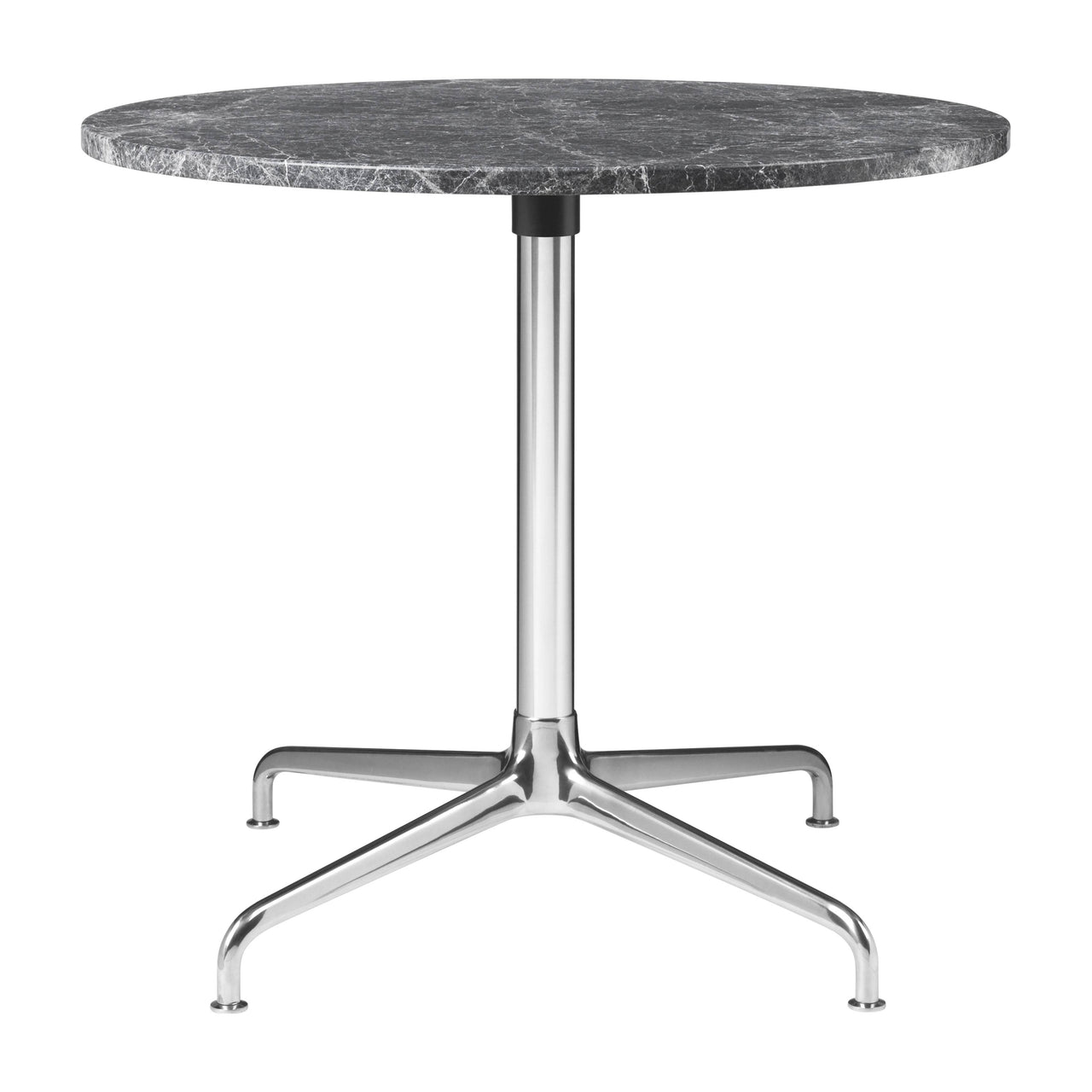 Beetle Lounge Table: Round + Small + Grey Emperador Marble + Polished Aluminum Base