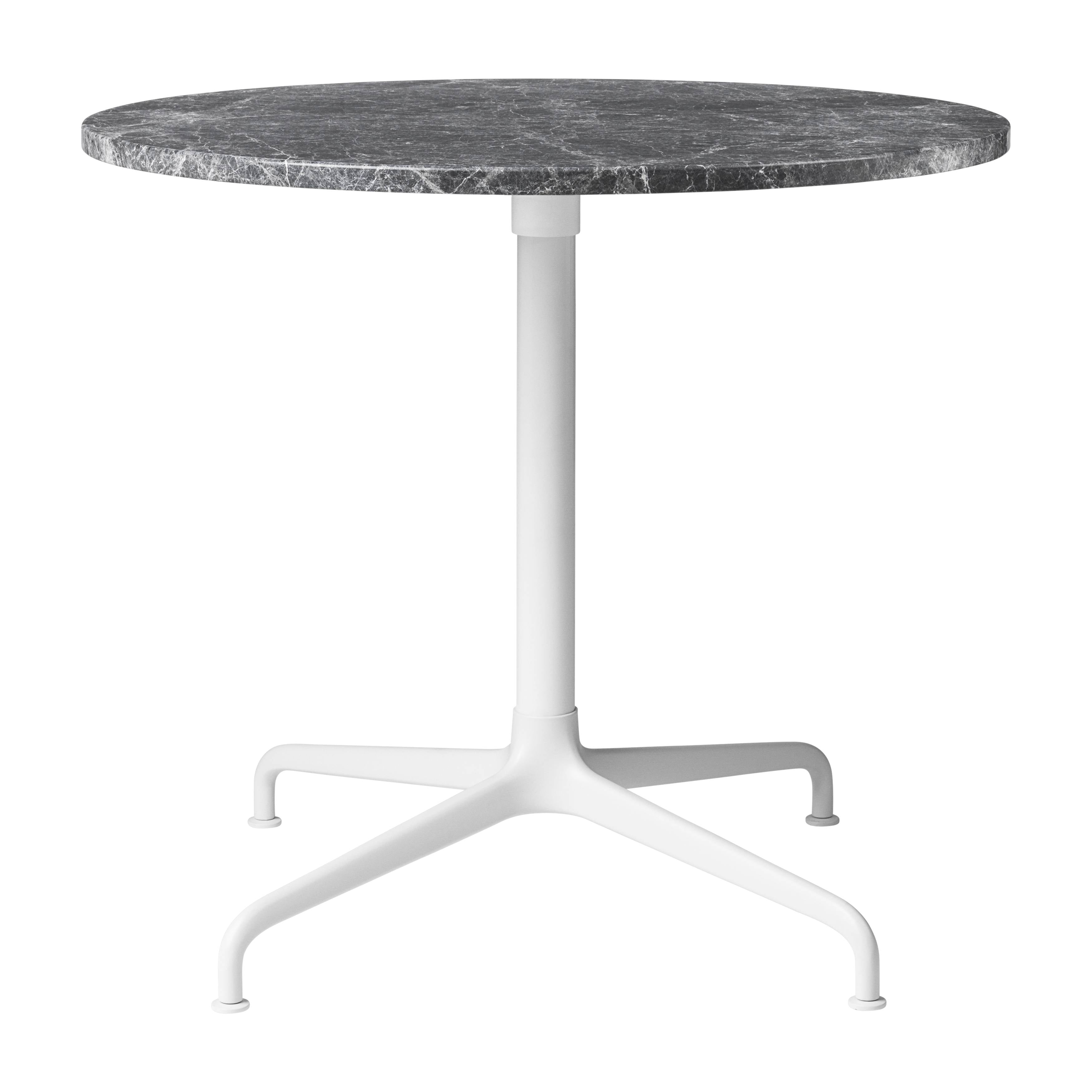 Beetle Lounge Table: Round + Small + Grey Emperador Marble + Soft White Semi-Matte Base