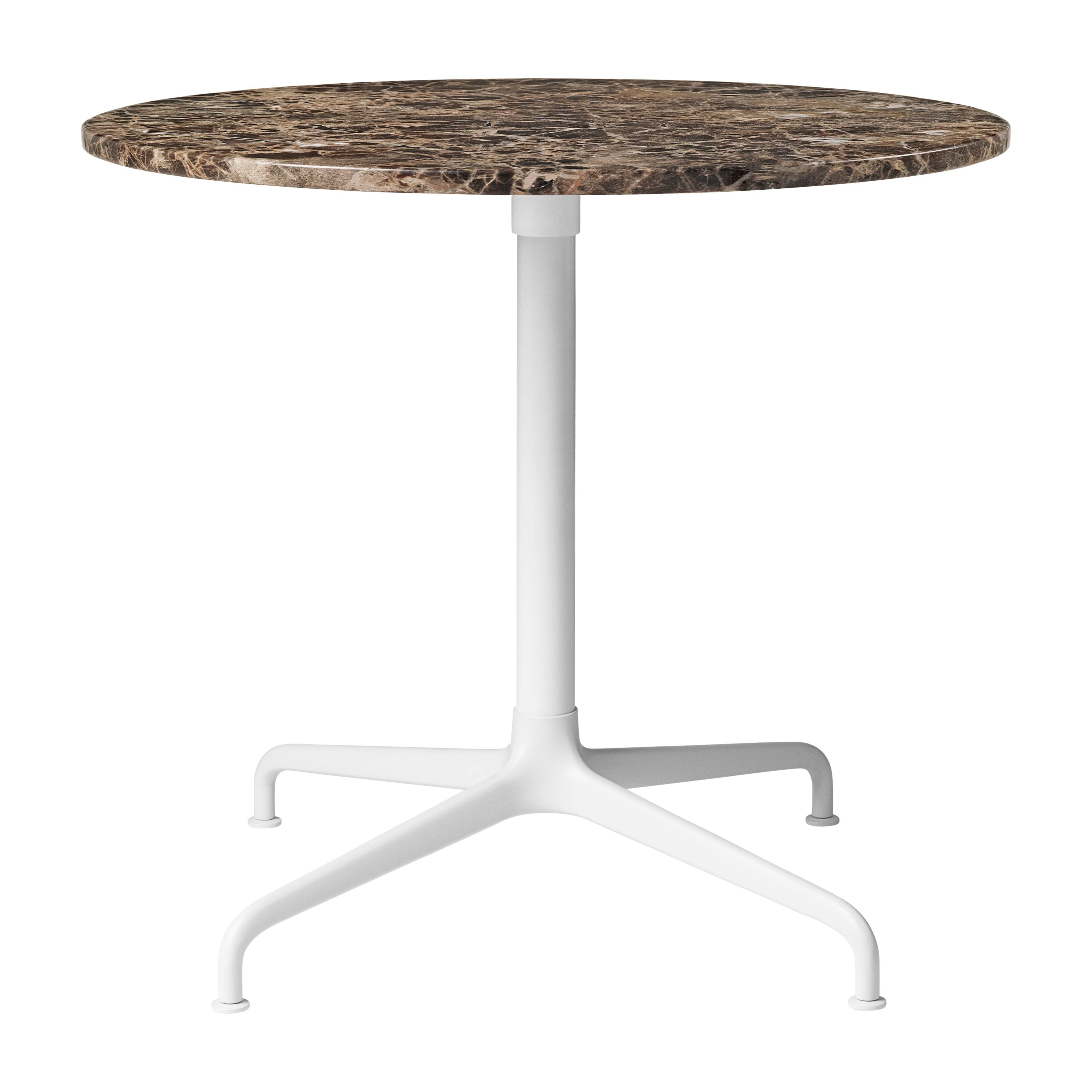 Beetle Lounge Table: Round + Small + Brown Emperador Marble + Soft White Semi-Matte Base