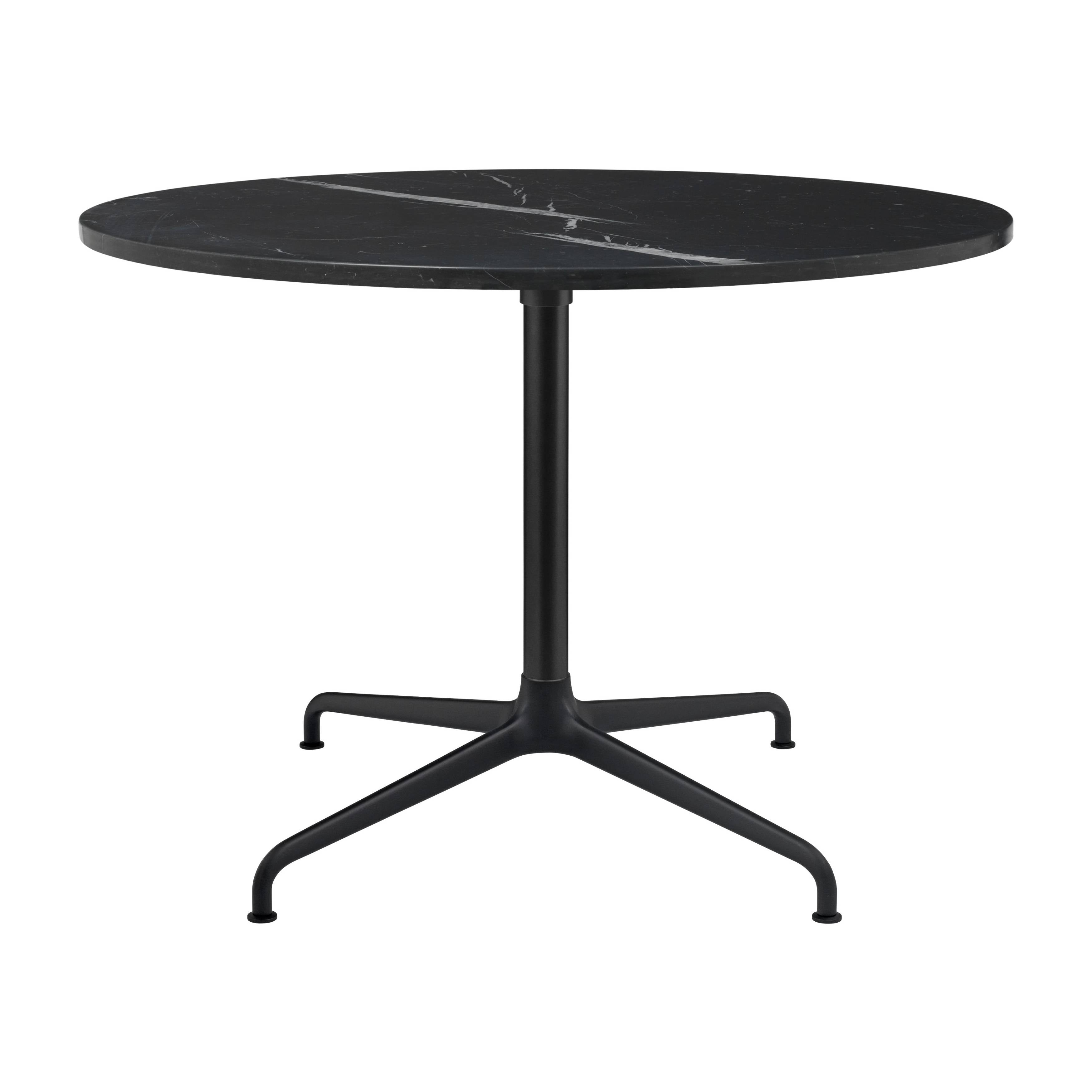 Beetle Lounge Table: Round + Large + Black Marquina Marble + Black Matte Base