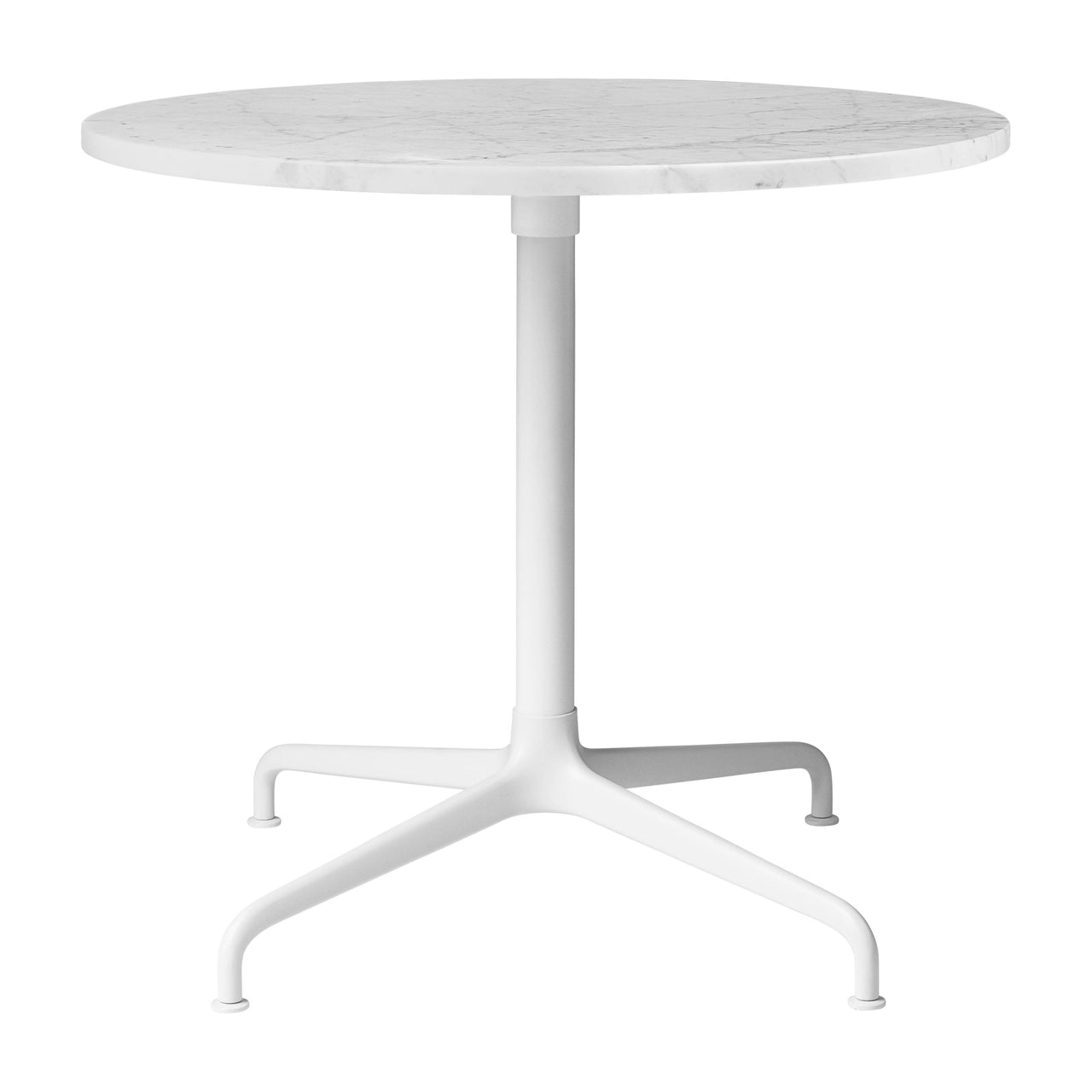 Beetle Lounge Table: Round + Small + White Carrara Marble + Soft White Semi-Matte Base