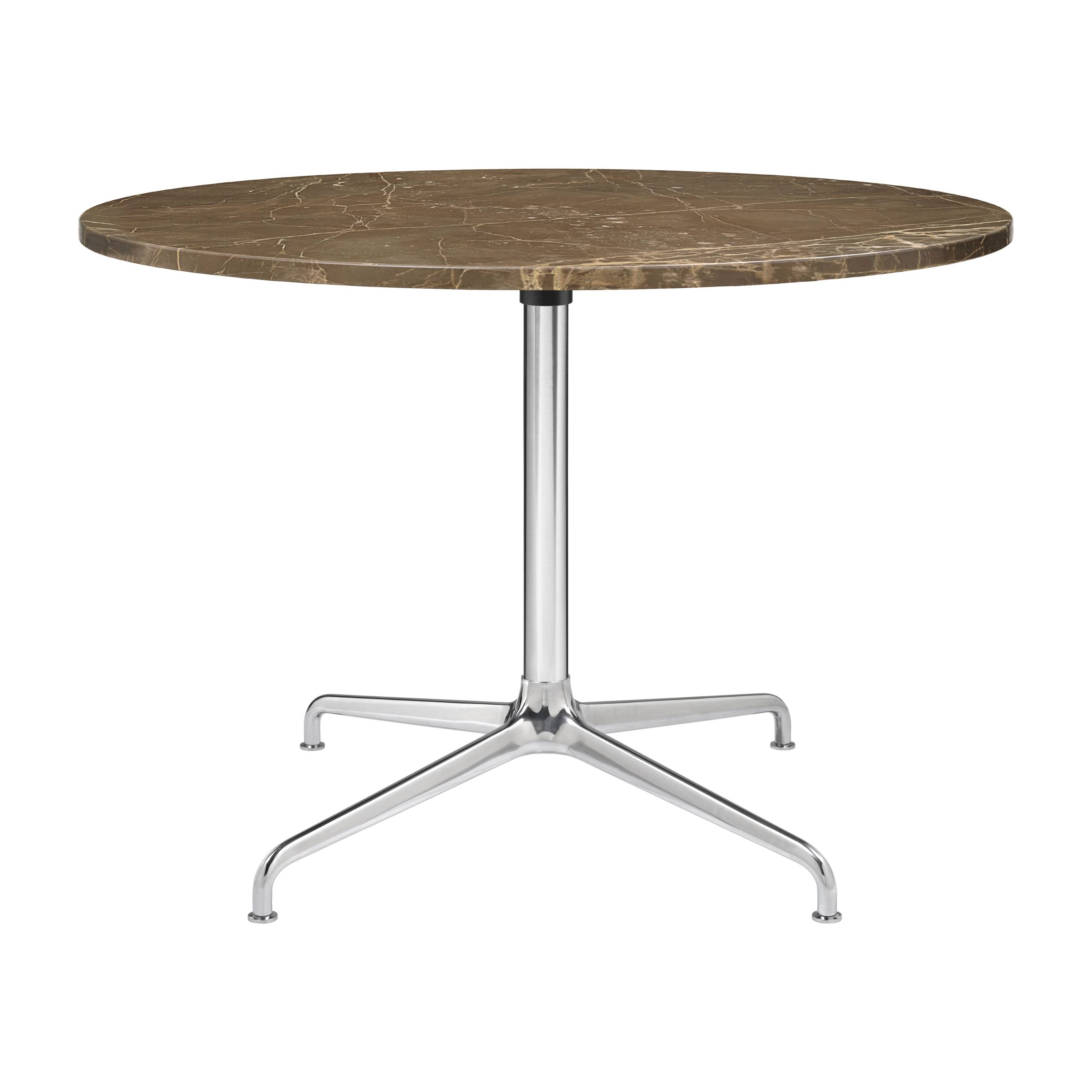 Beetle Lounge Table: Round + Large + Brown Emperador Marble + Polished Aluminum Base