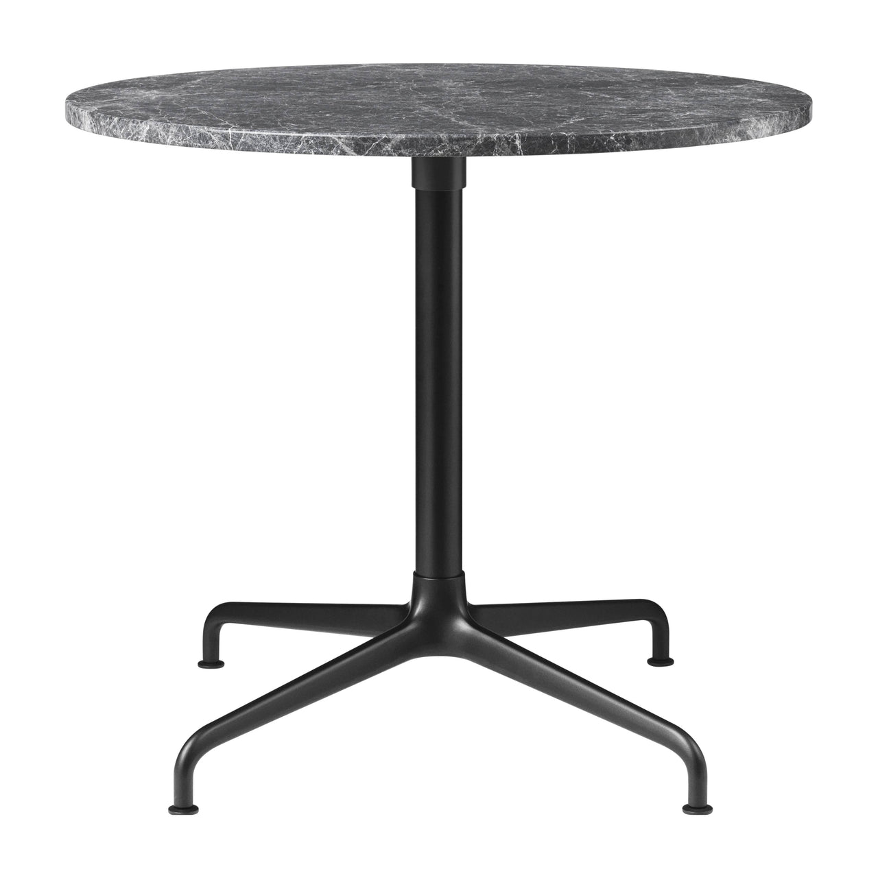 Beetle Lounge Table: Round + Small + Grey Emperador Marble + Black Matte Base