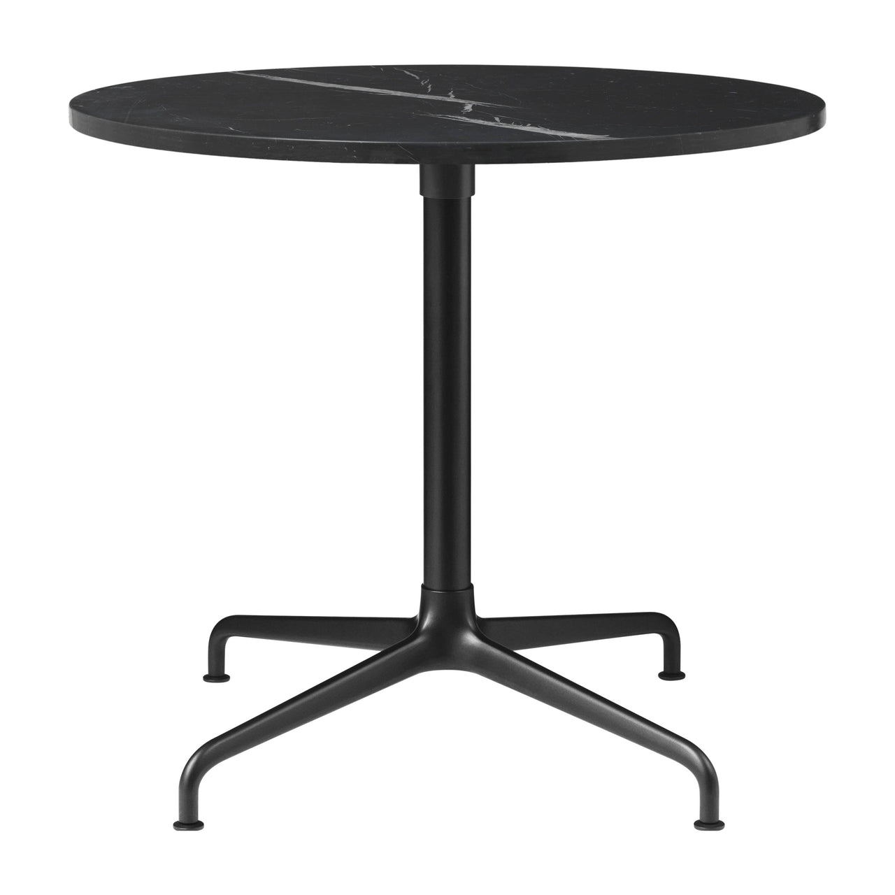 Beetle Lounge Table: Round + Small + Black Marquina Marble + Black Matte Base