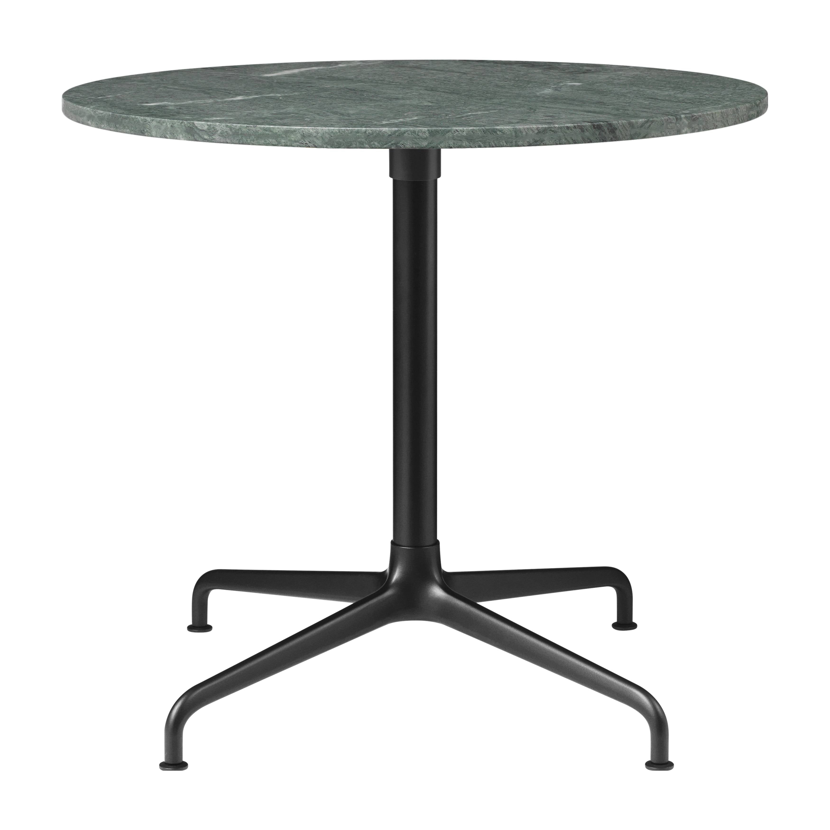 Beetle Lounge Table: Round + Small + Green Guatemala Marble + Black Matte Base