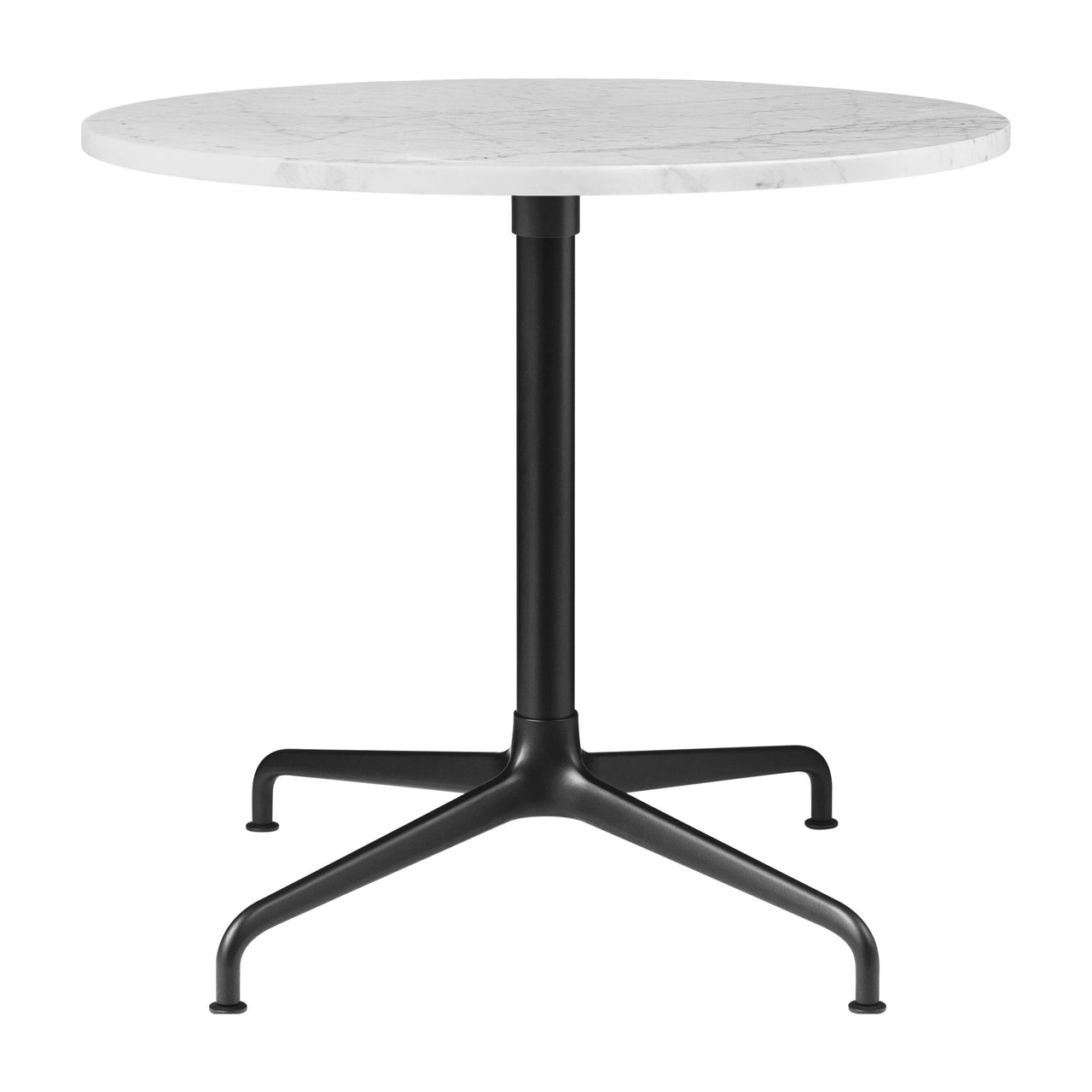 Beetle Lounge Table: Round + Small + White Carrara Marble + Black Matte Base