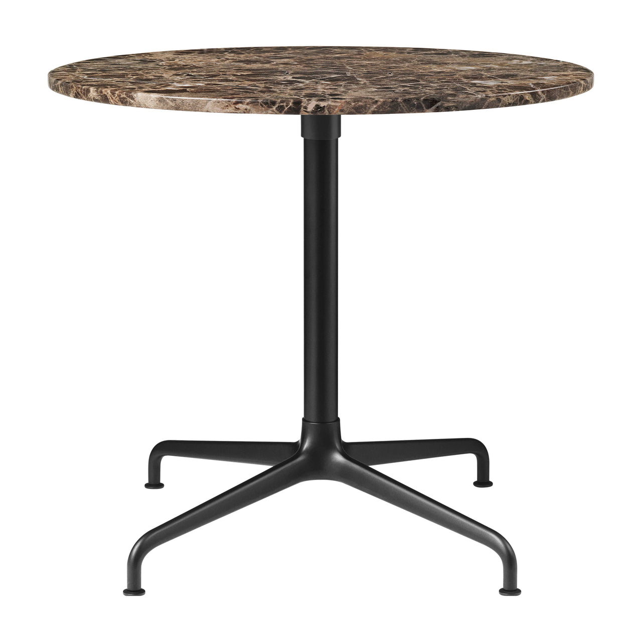 Beetle Lounge Table: Round + Small + Brown Emperador Marble + Black Matte Base