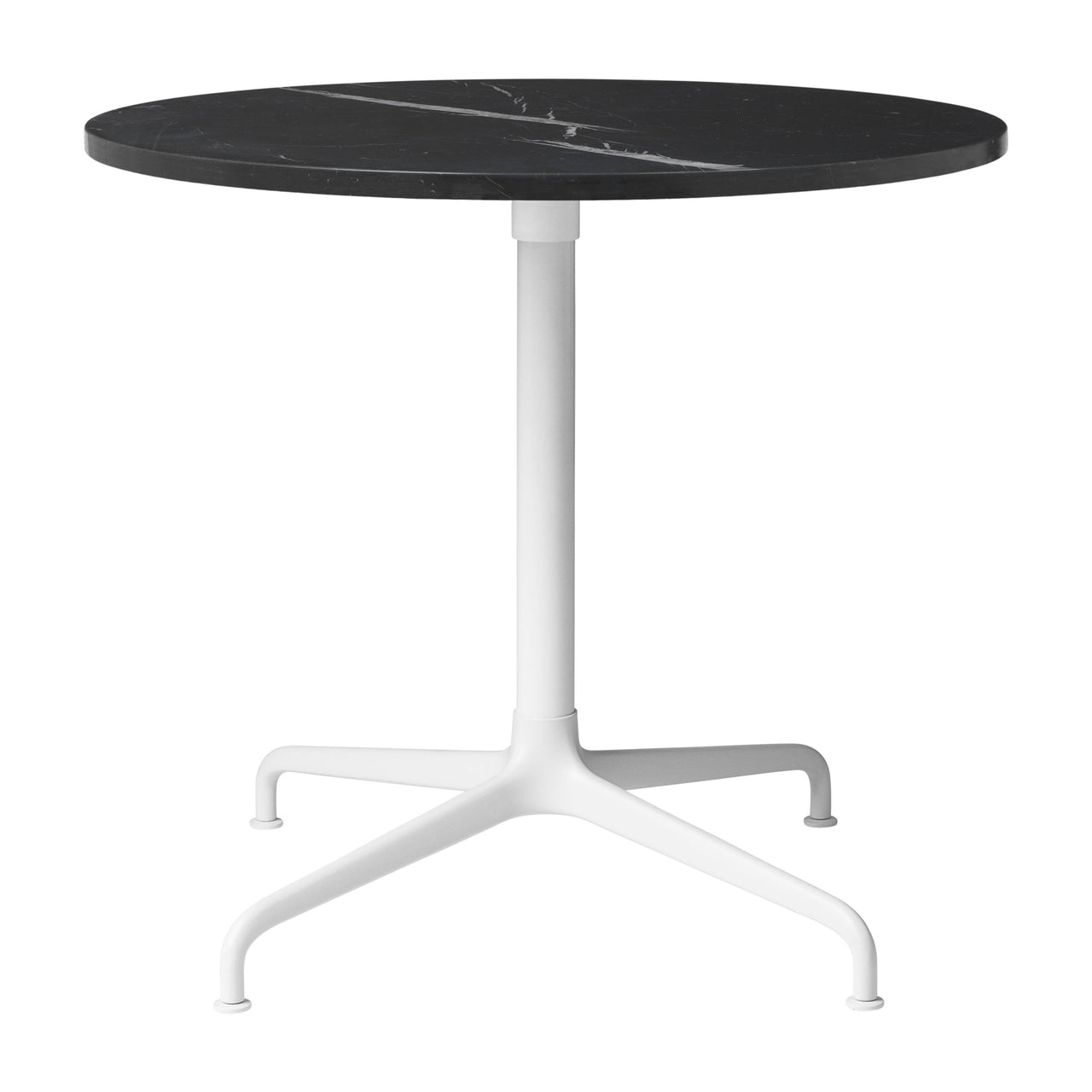 Beetle Lounge Table: Round + Small + Black Marquina Marble + Soft White Semi-Matte Base