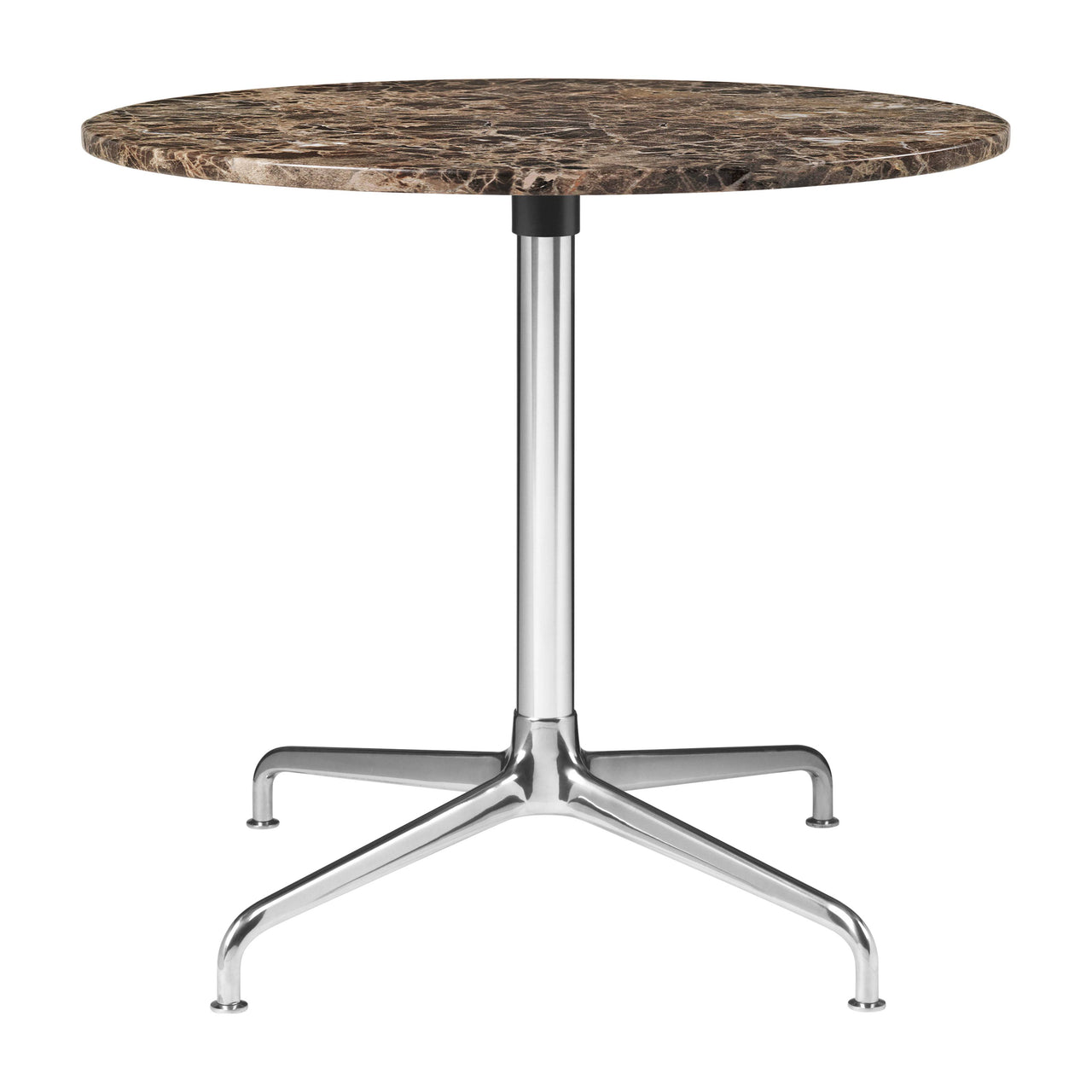 Beetle Lounge Table: Round + Small + Brown Emperador Marble + Polished Aluminum Base