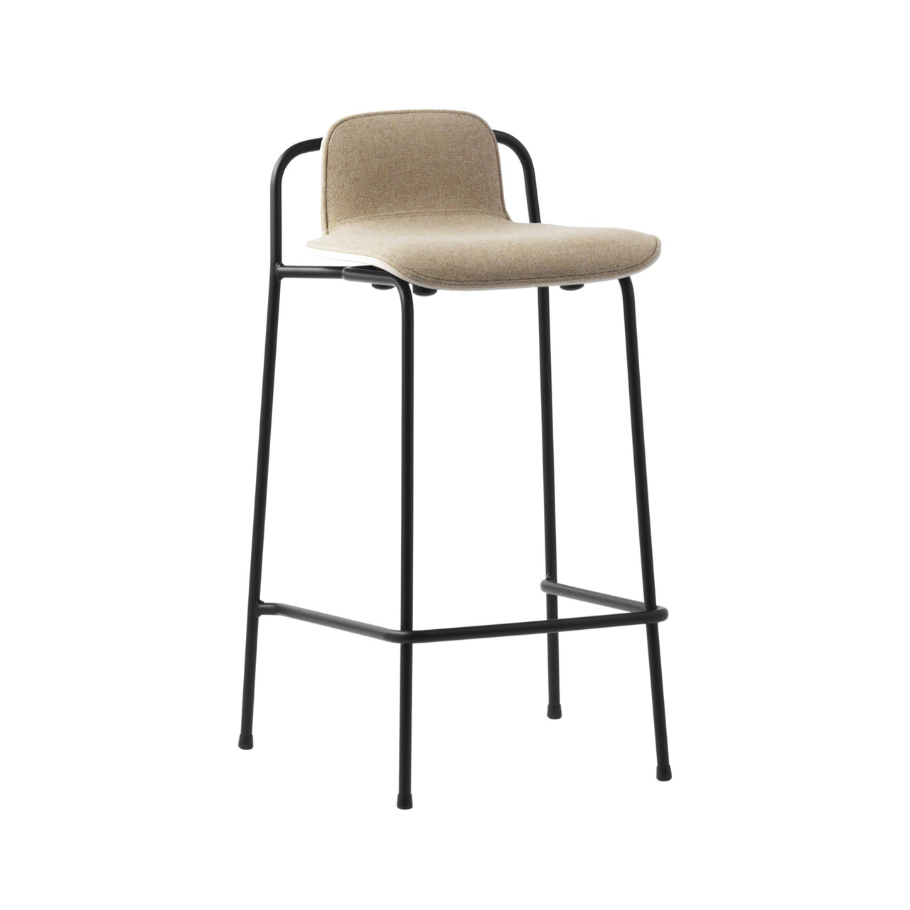 Studio Bar + Counter Stool: Front Upholstered + Counter (65cm) + Oak Shell