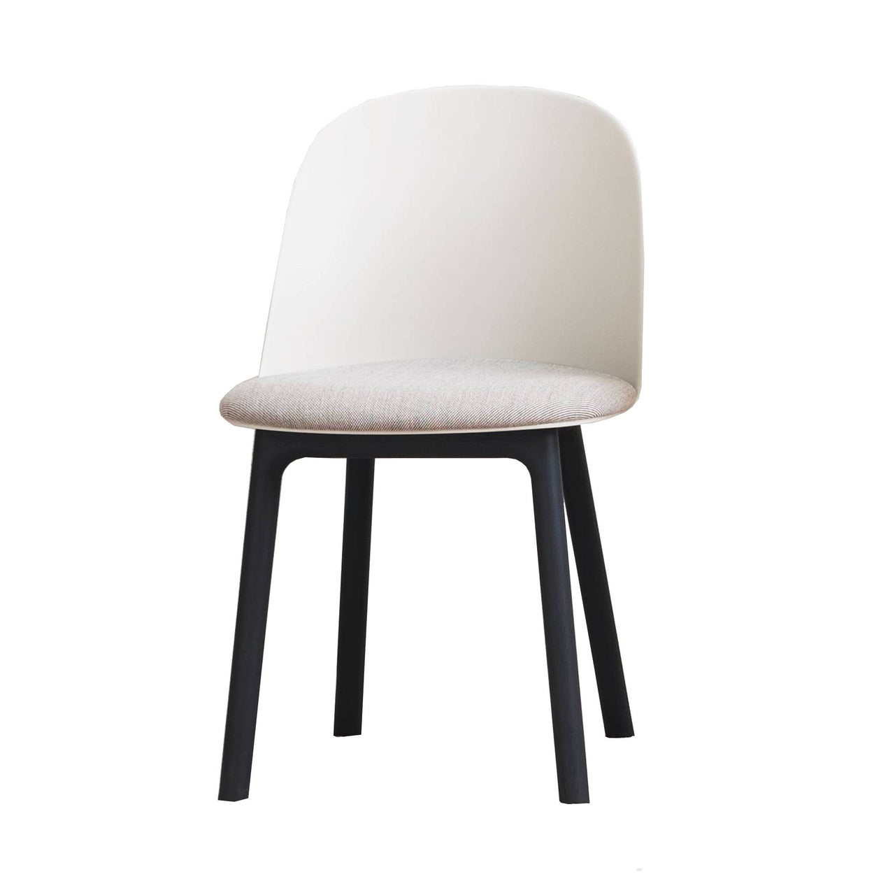 Mariolina Side Chair: Wood Base + Upholstery + Silk Grey Shell