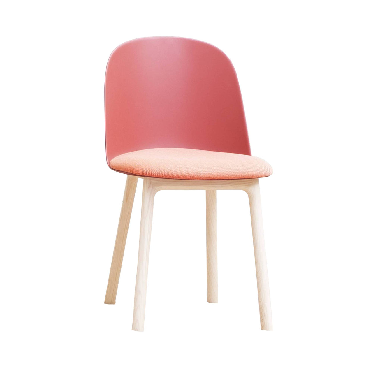 Mariolina Side Chair: Wood Base + Upholstery + Marsala Red Shell