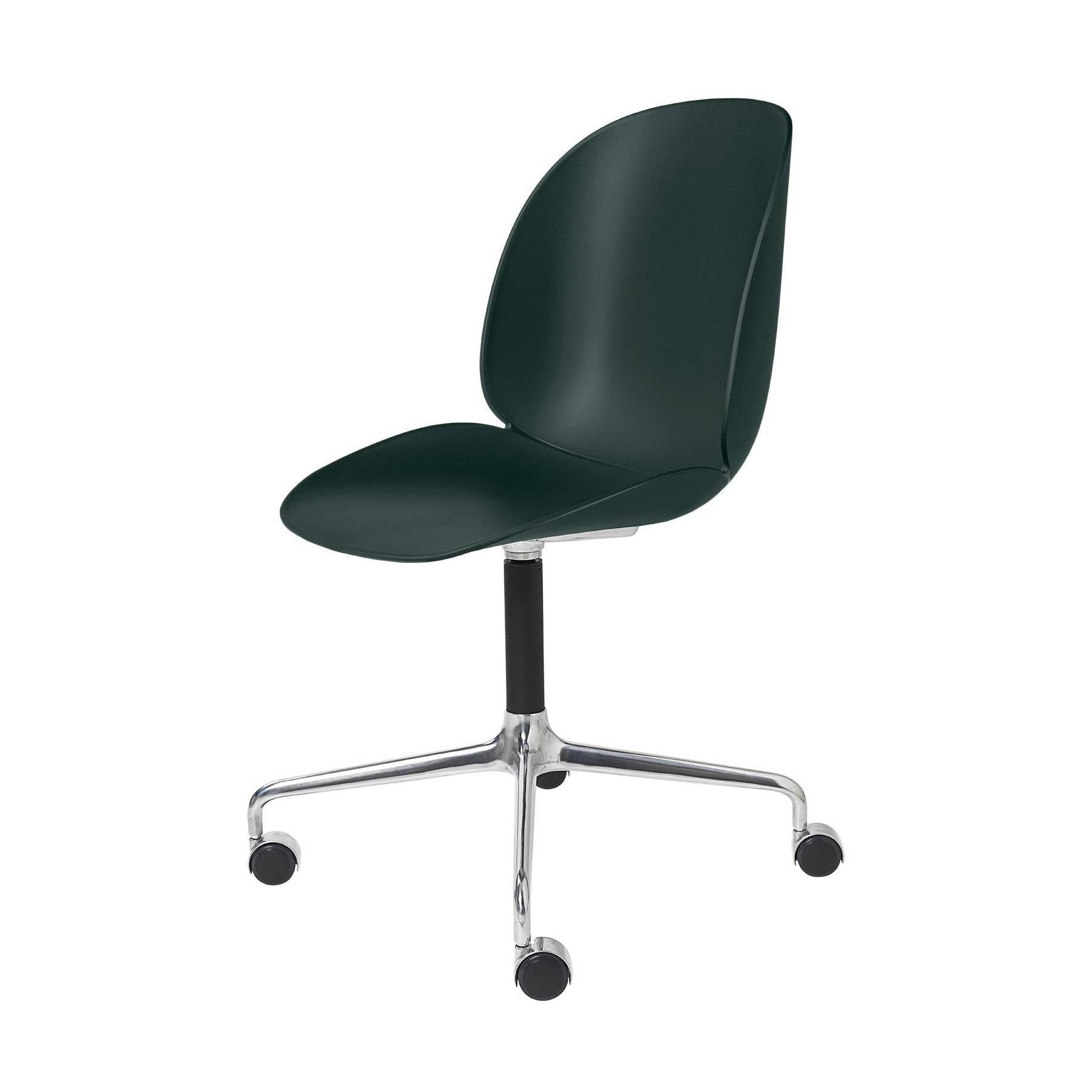 Beetle Meeting Chair: 4-Star Swivel Base With Castors: Dark Green + Polished Aluminum + Black Matte Base