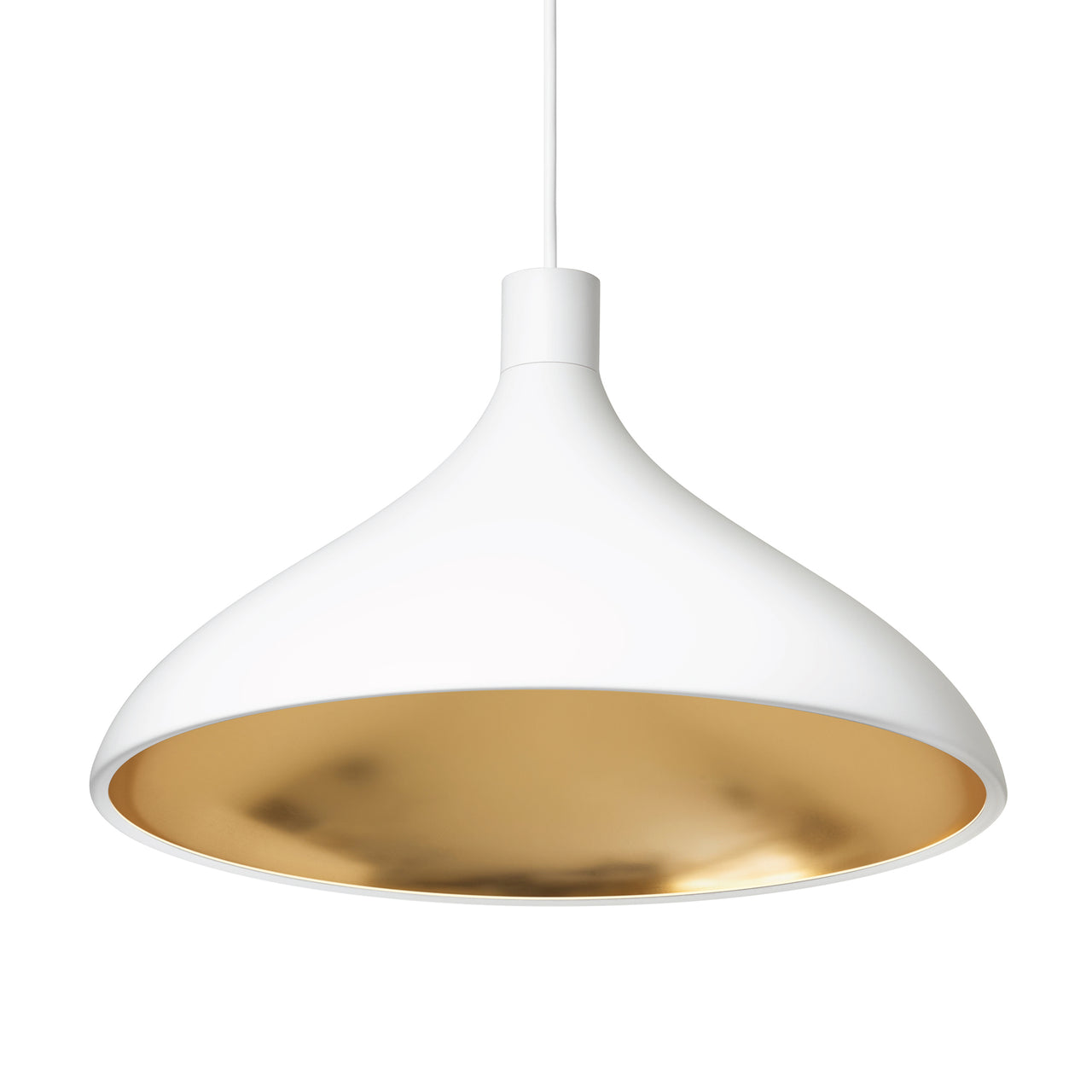 Swell Single Indoor/Outdoor Pendant Light: Wide + White + Brass