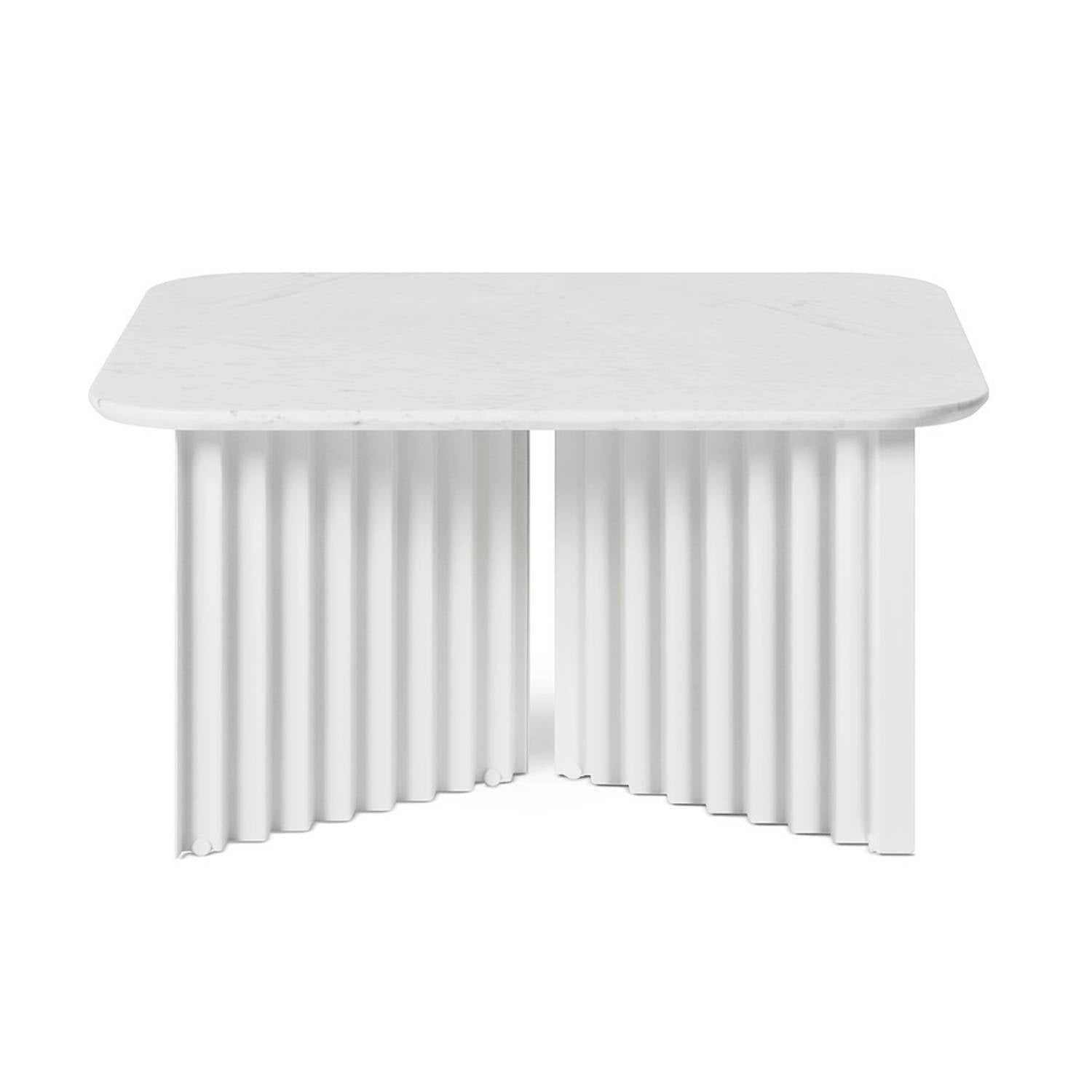 Plec Table: Marble Top: Medium + White Carrara