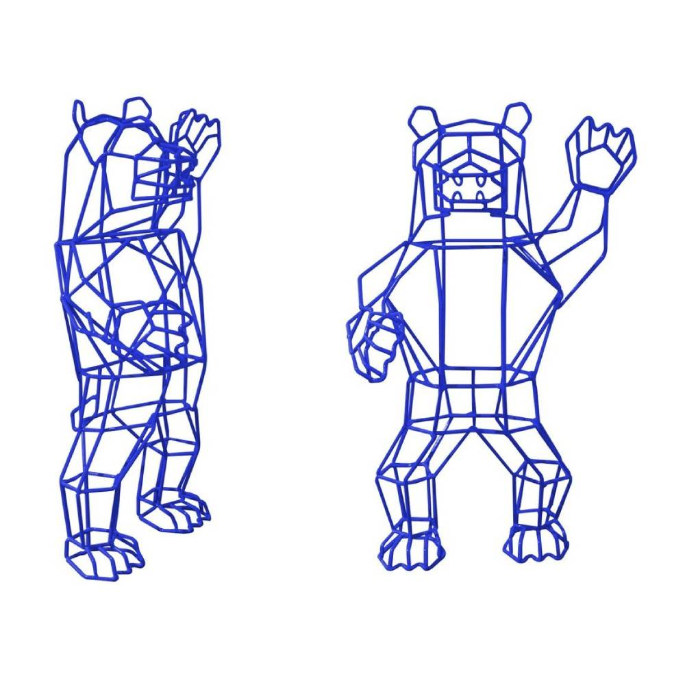 Marching Bear Statue: Electric Blue