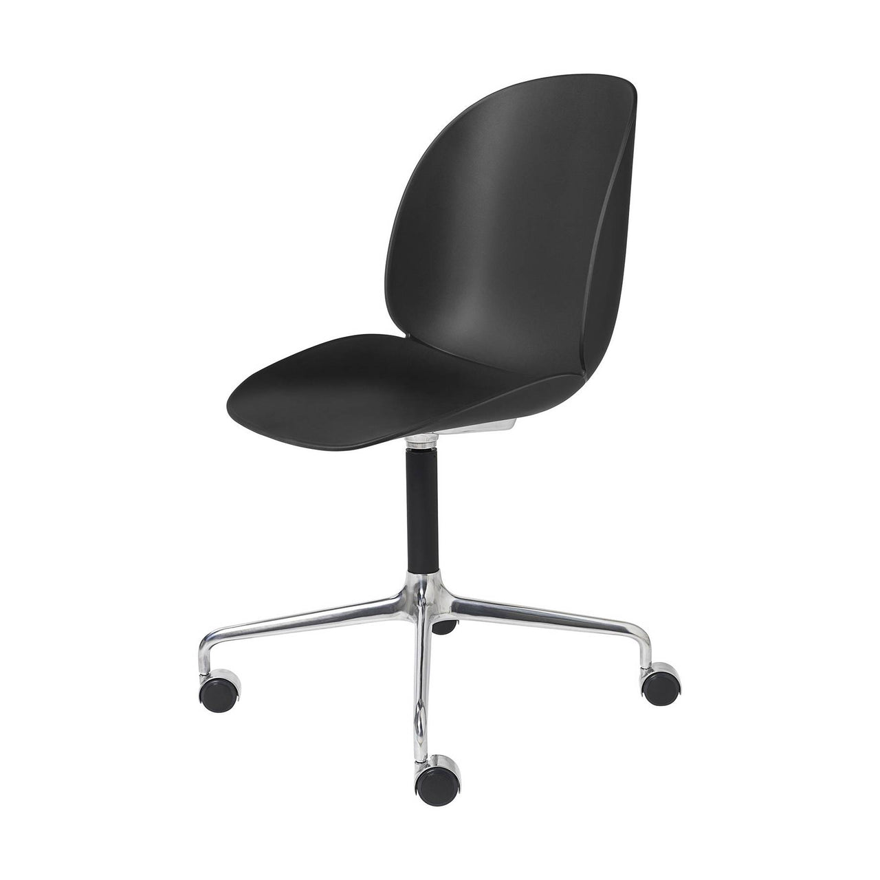Beetle Meeting Chair: 4-Star Swivel Base With Castors: Black + Polished Aluminum + Black Matte Base