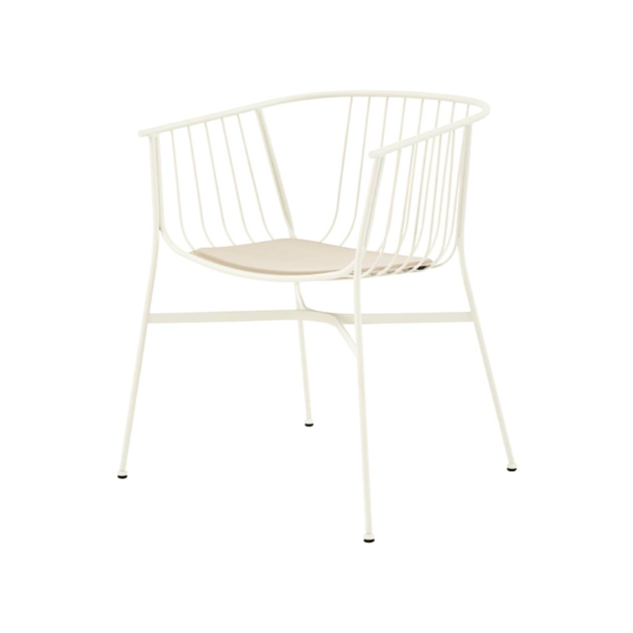 Jeanette Chair: White + Light Greige Seat Pad