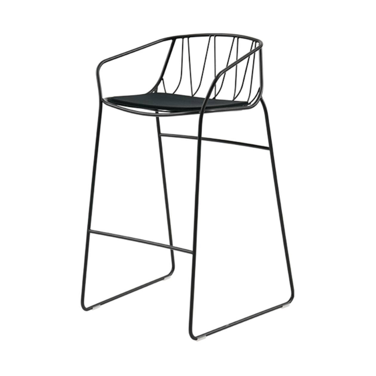Chee Bar + Counter Stool: Bar + Black + Black Seat Pad