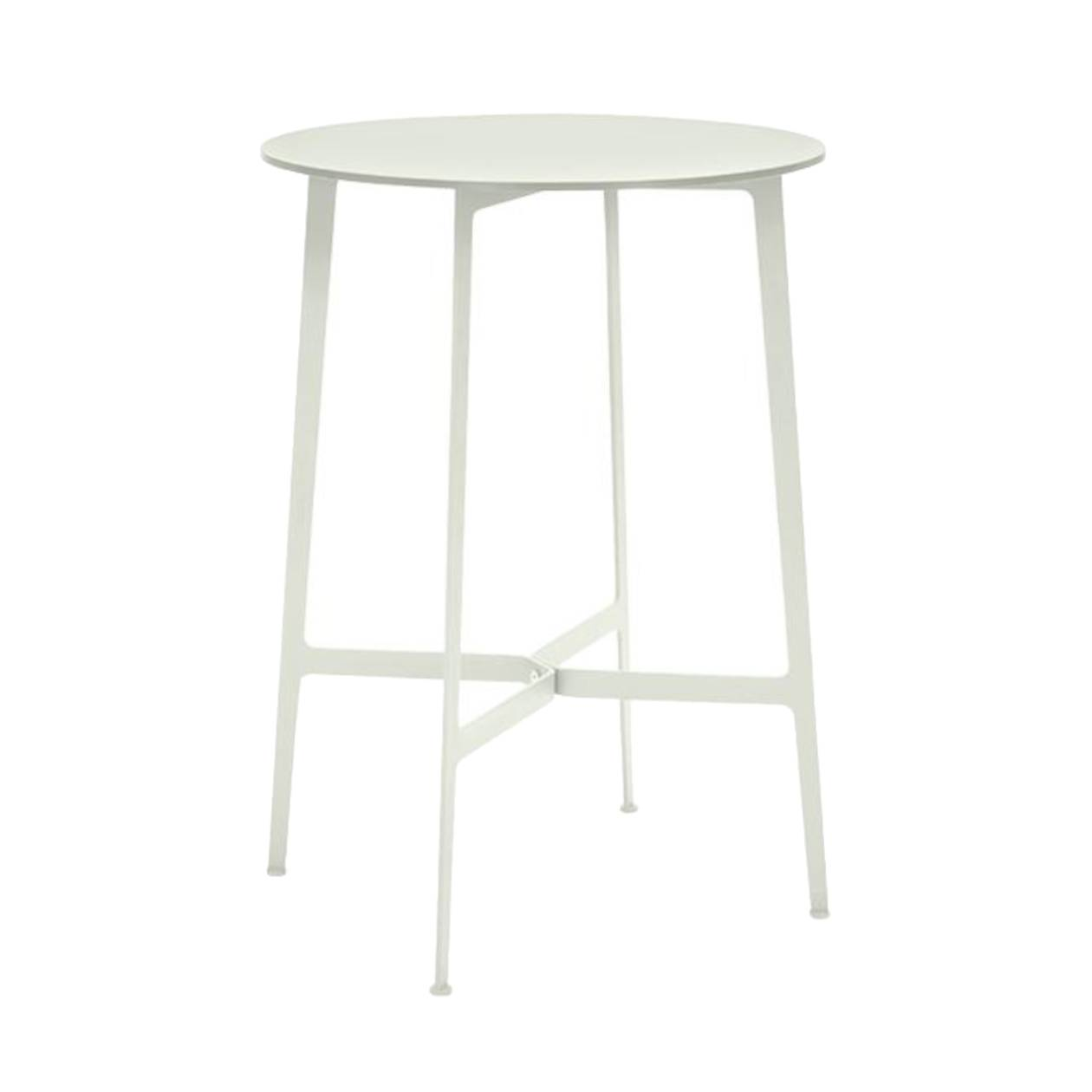 Eileen Circular High Bar Table: White Frame + White Laminate