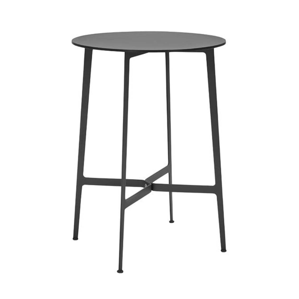 Eileen Circular High Bar Table: Black Frame + Black Laminate