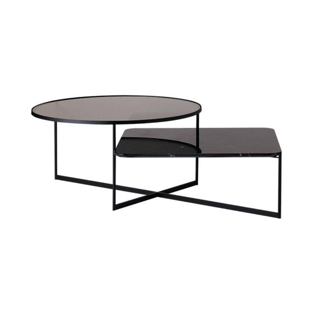 Mohana Coffee Table: Black + Fluted Glass + Black Marble